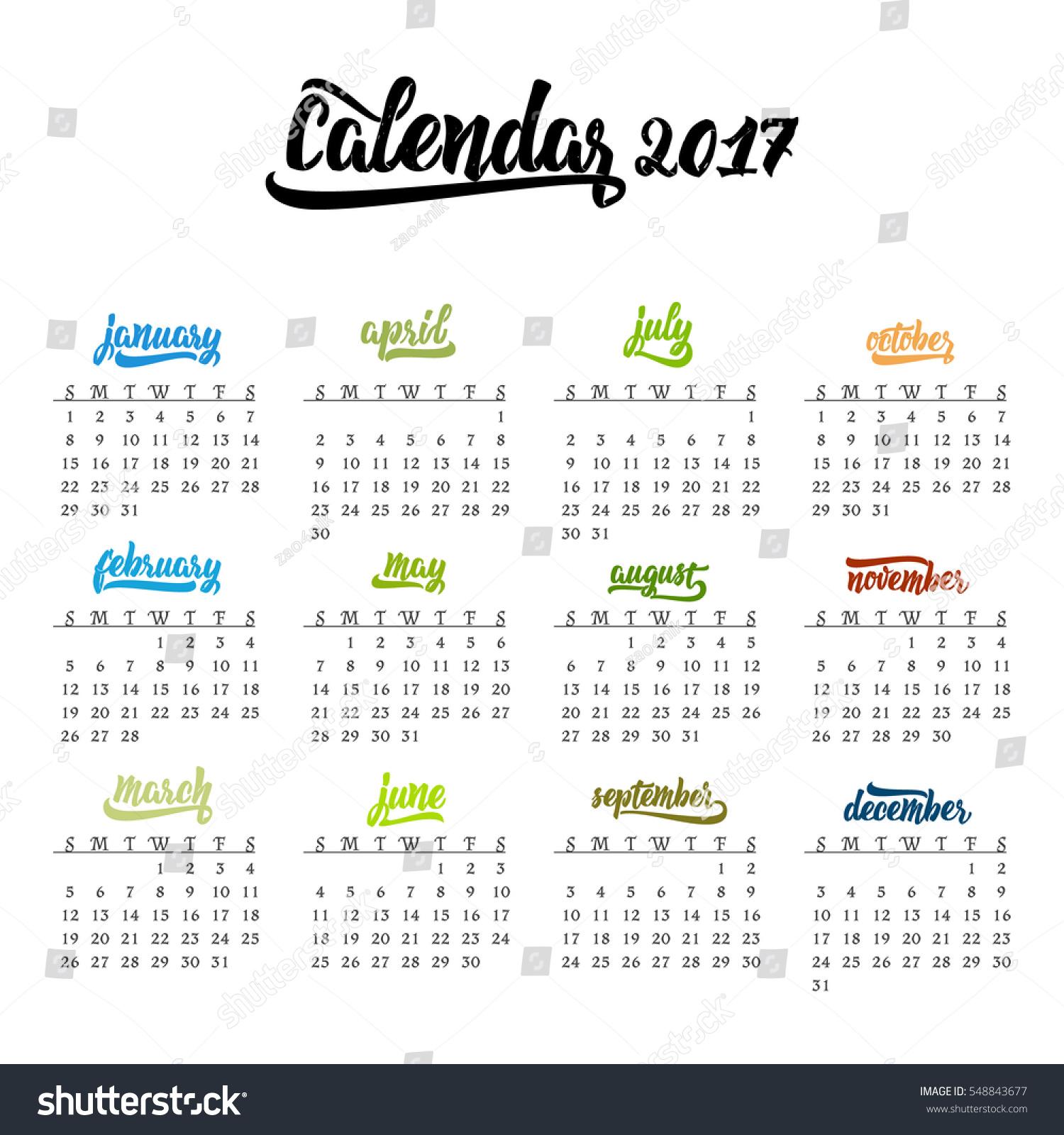 Calendar Year Names : Calendar trendy template handdrawn lettering stock