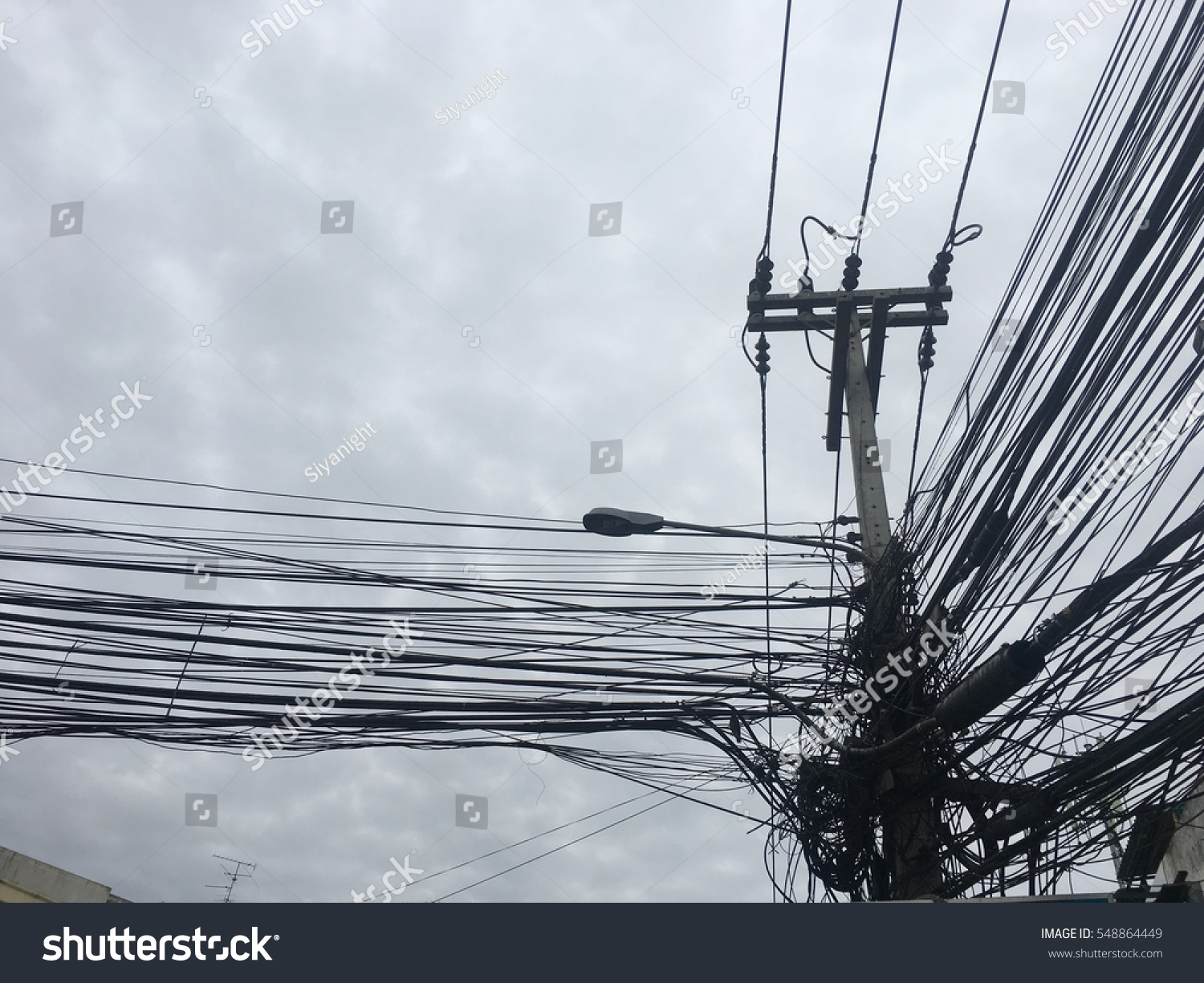 Complicated Arrangement Thailand Electric Wire Stock Photo 548864449 ...