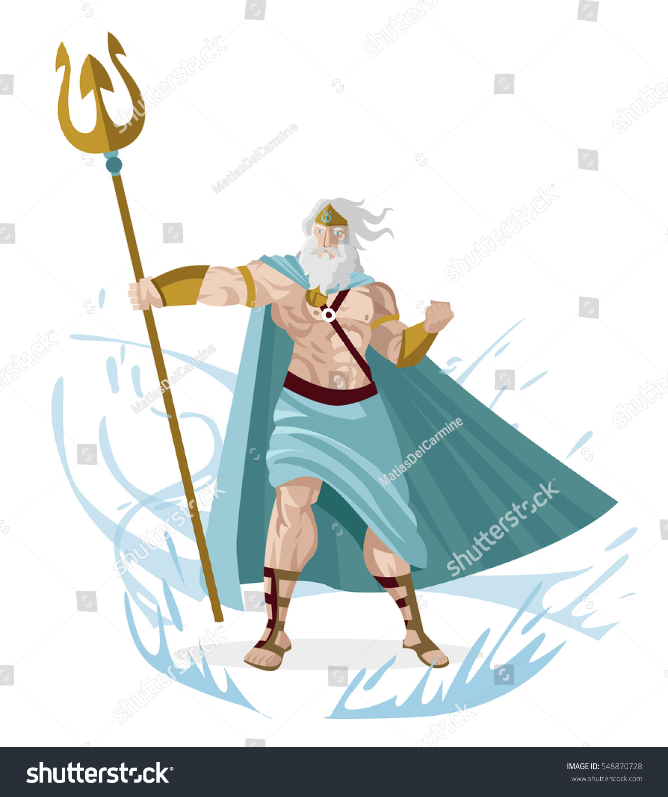 poseidon neptune greek god sea trident stock vector 548870728