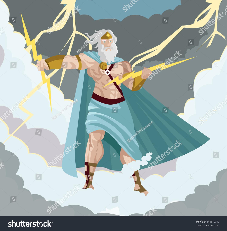 zeus greek god ray storms sky stock vector 548870749 shutterstock