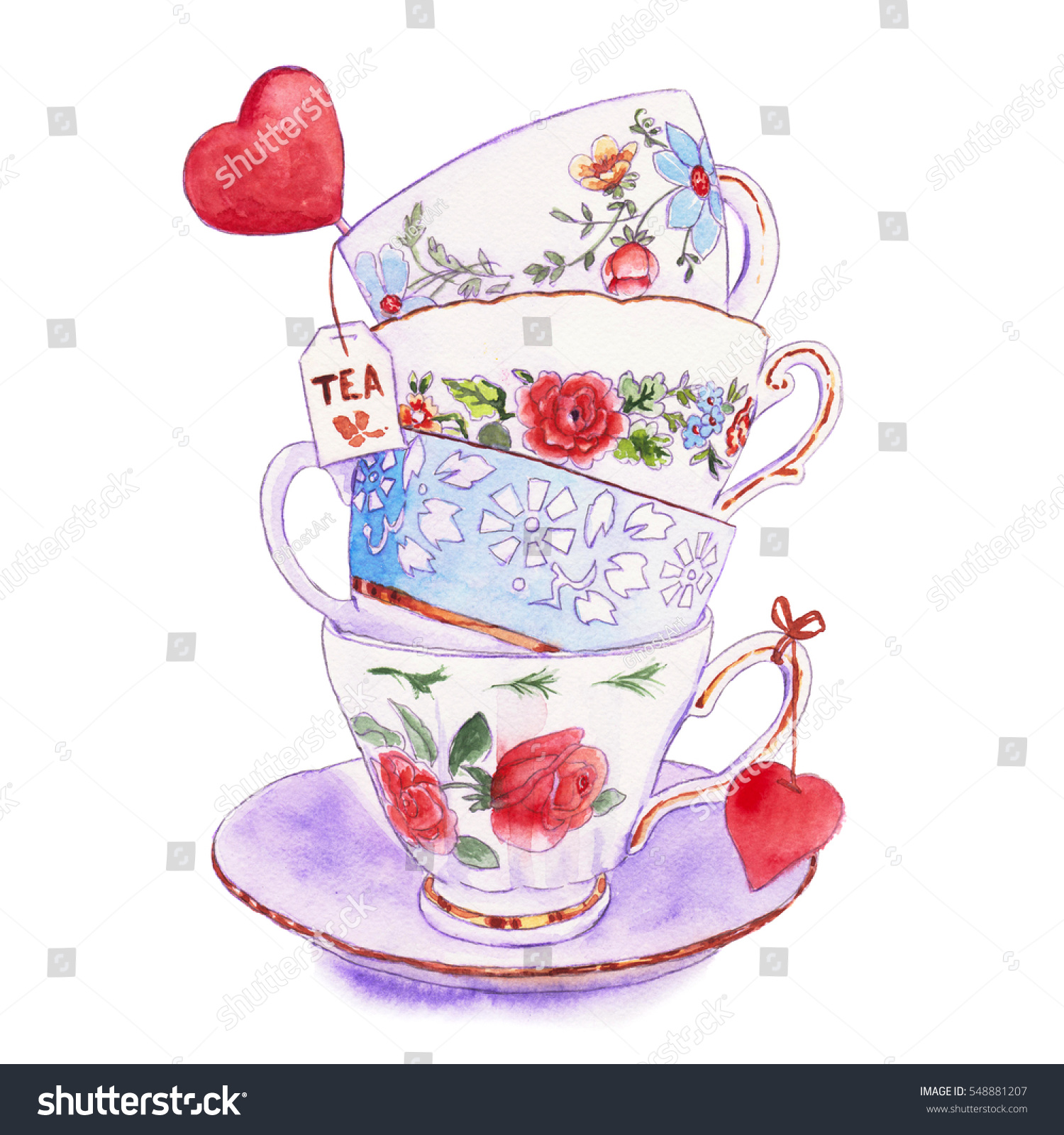 Party Colorful Tea Cups Saucers Closeup Stock Illustration