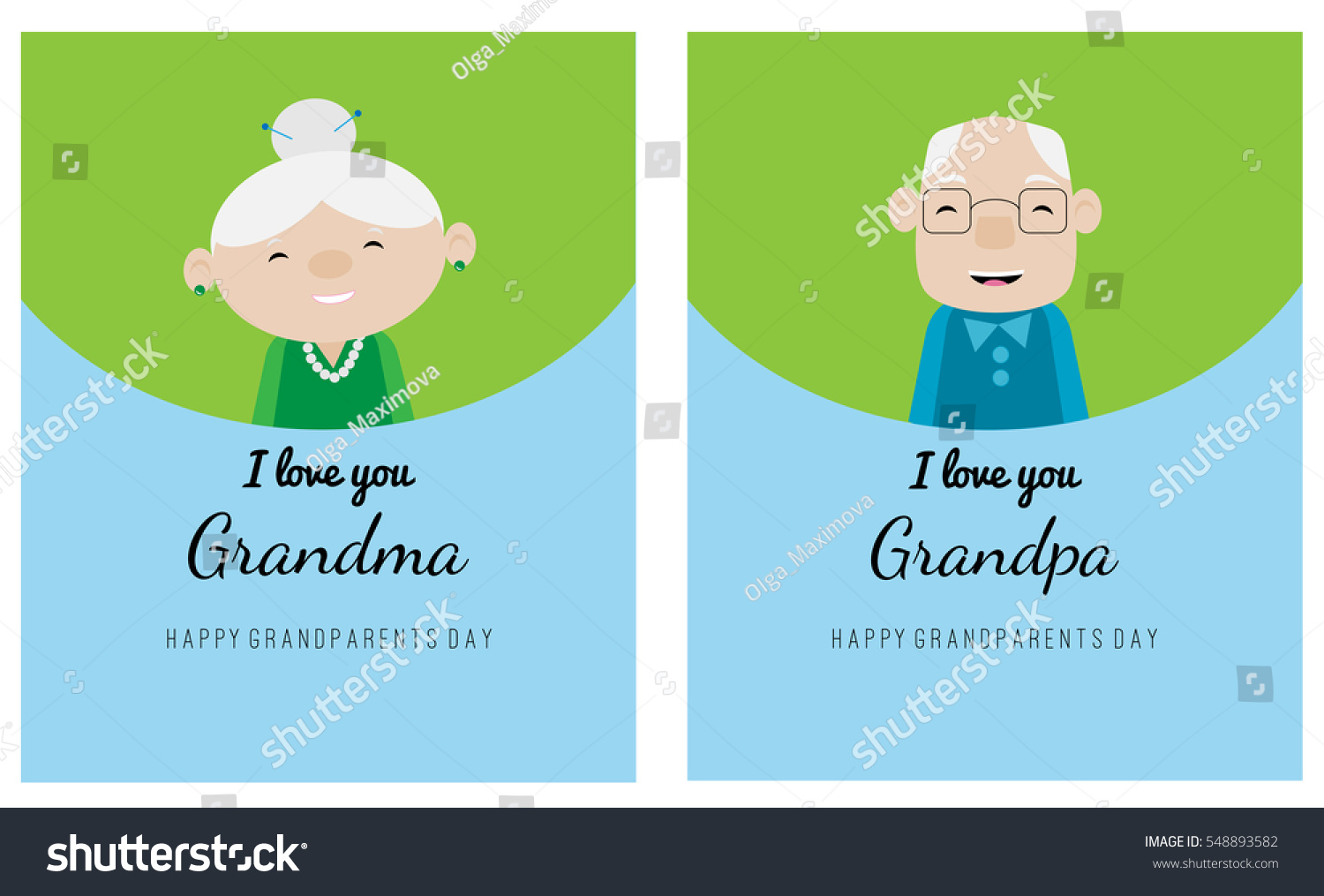 Two Greeting Cards Grandparents Day Celebration Stock Vector