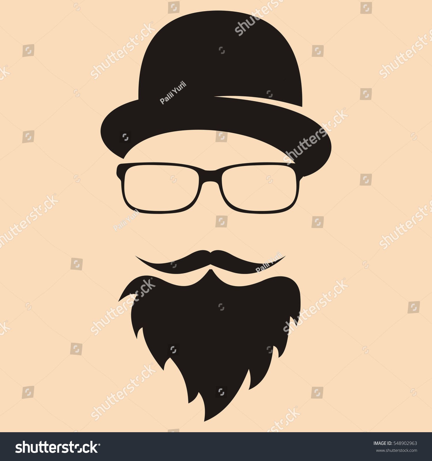 Fashion Silhouette Hipster Style Hat Glasses Stock Vector 548902963 Shutterstock