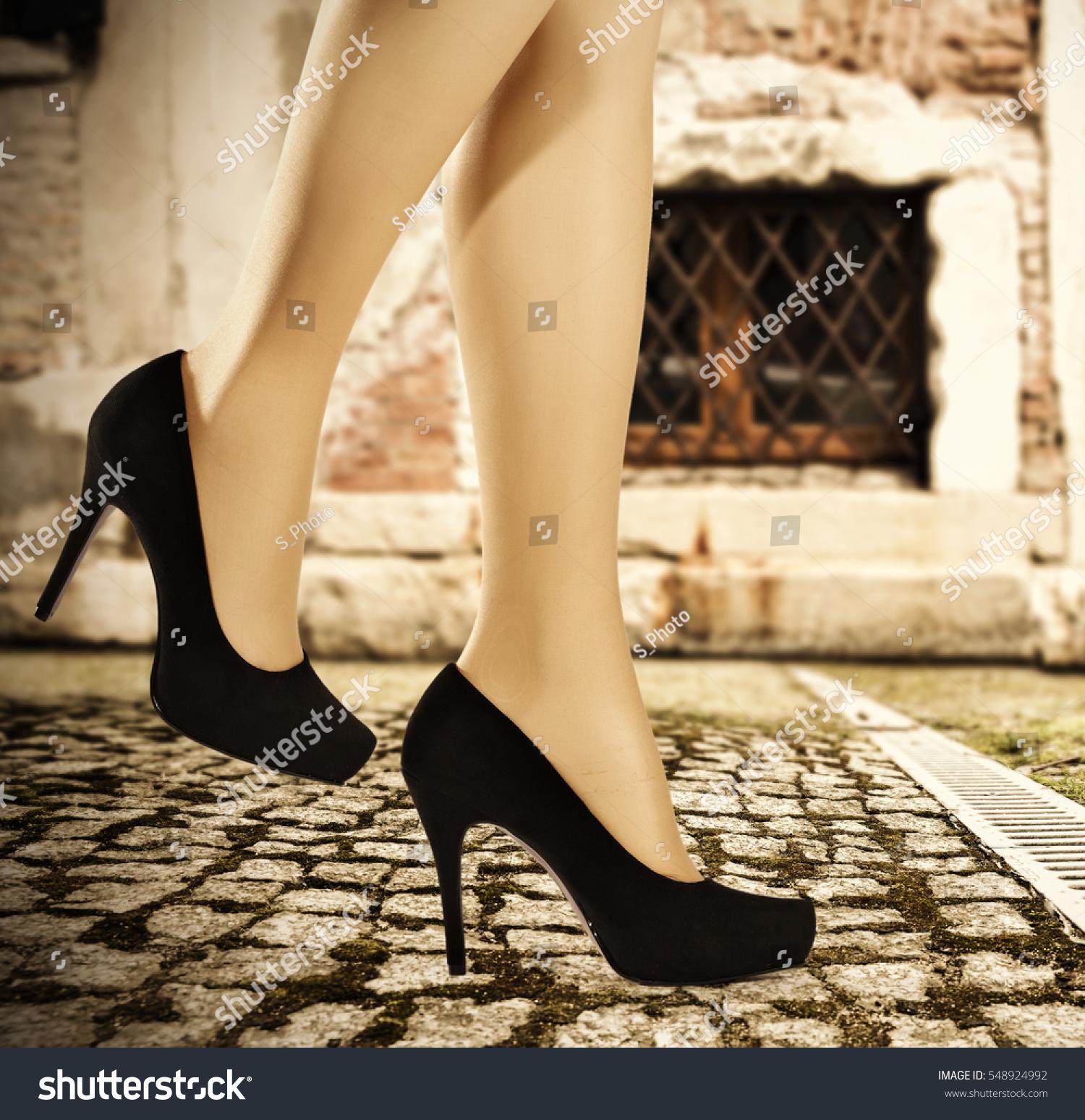 Slim Sexy Woman Legs Heels Stock Photo 548924992 -8901