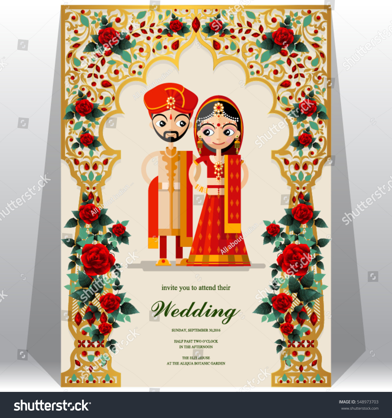 Indian Wedding Invitation Card Templates Gold Stock Vector 548973703 ...