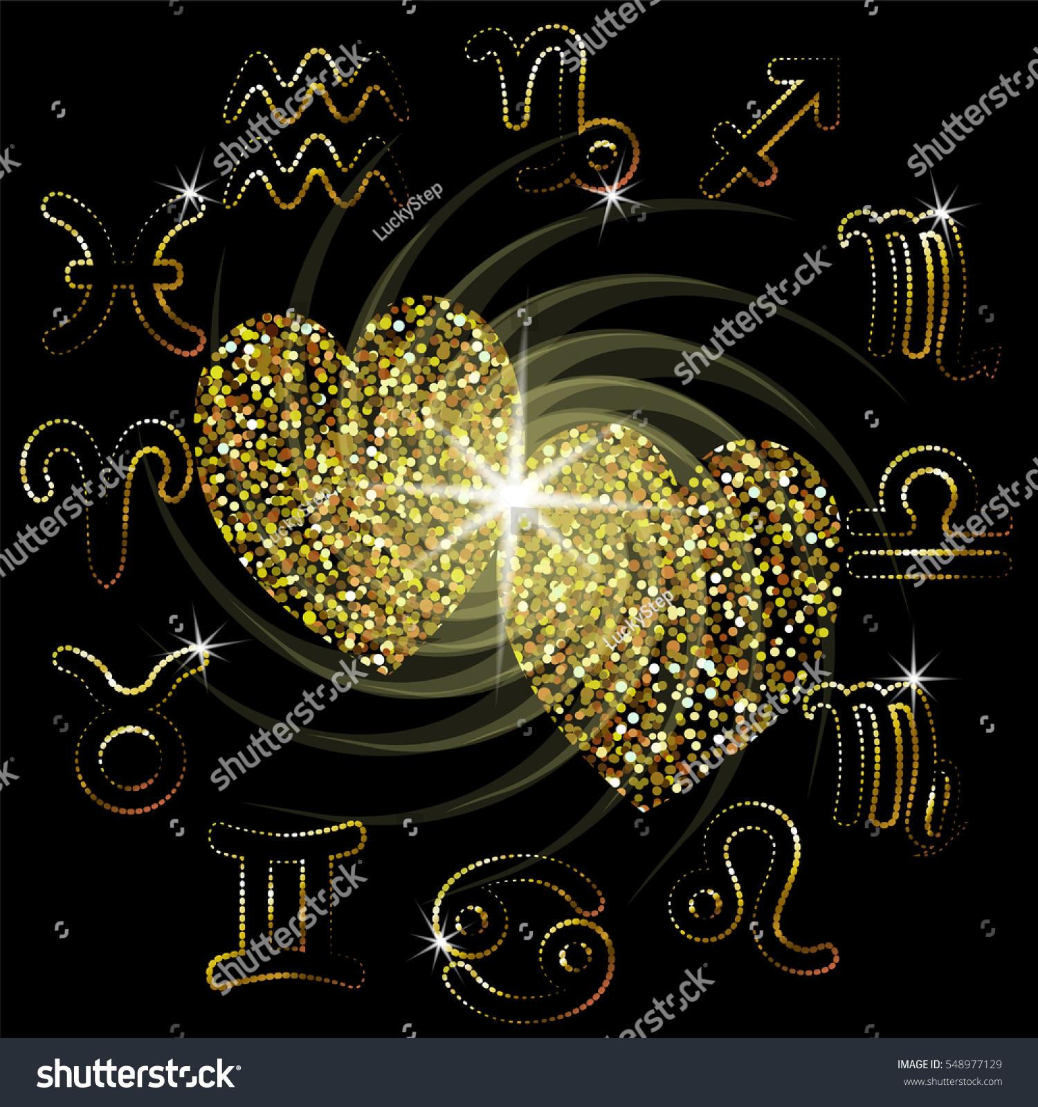 Love Horoscope Sparkling Hearts Zodiac Sign Stock Vector (Royalty
