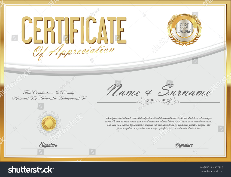 Certificate Retro Design Template Stock Vector 548977336 Shutterstock