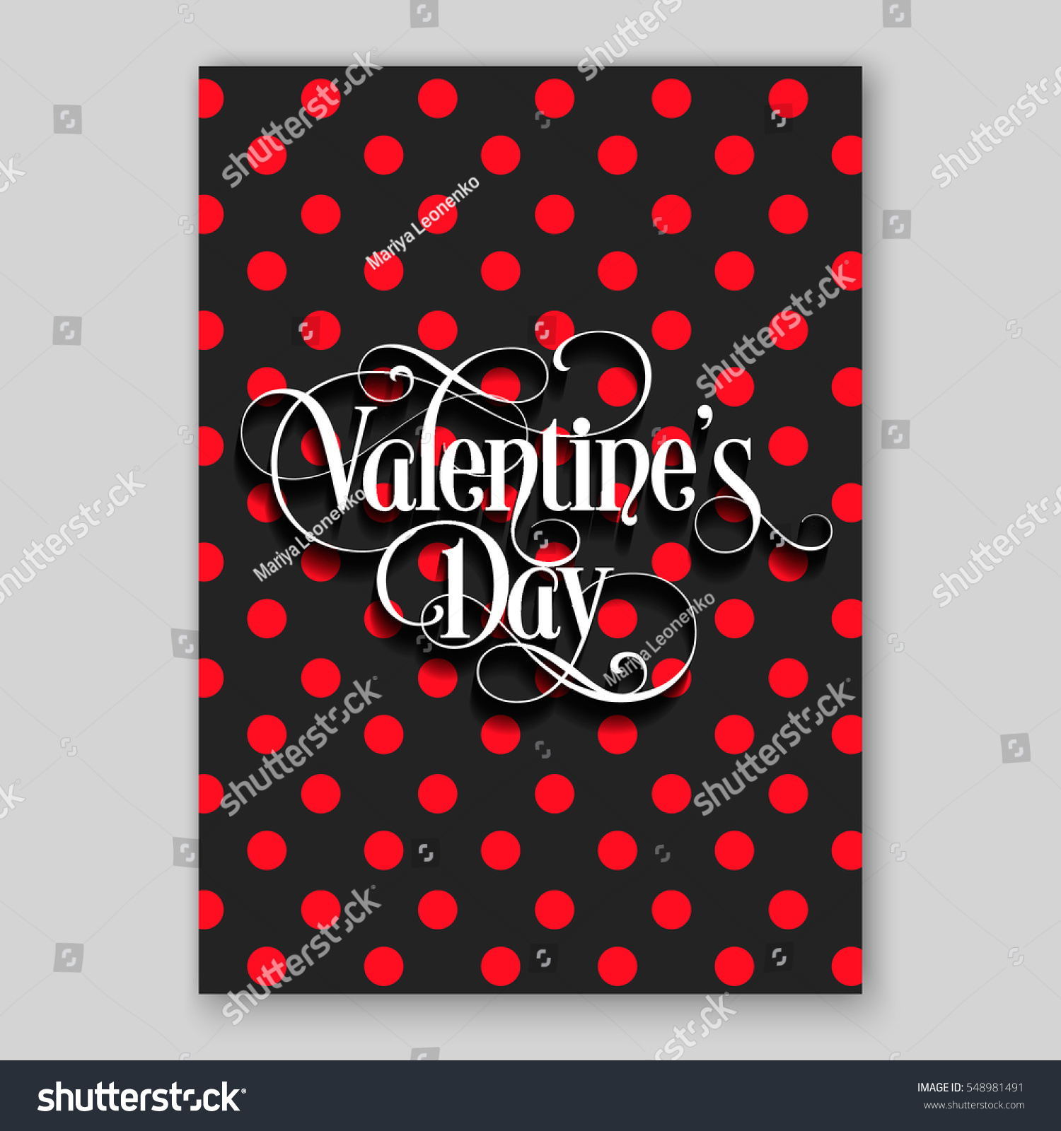 Happy Valentines Day Party Invitation Card Stock Vector 548981491 ...
