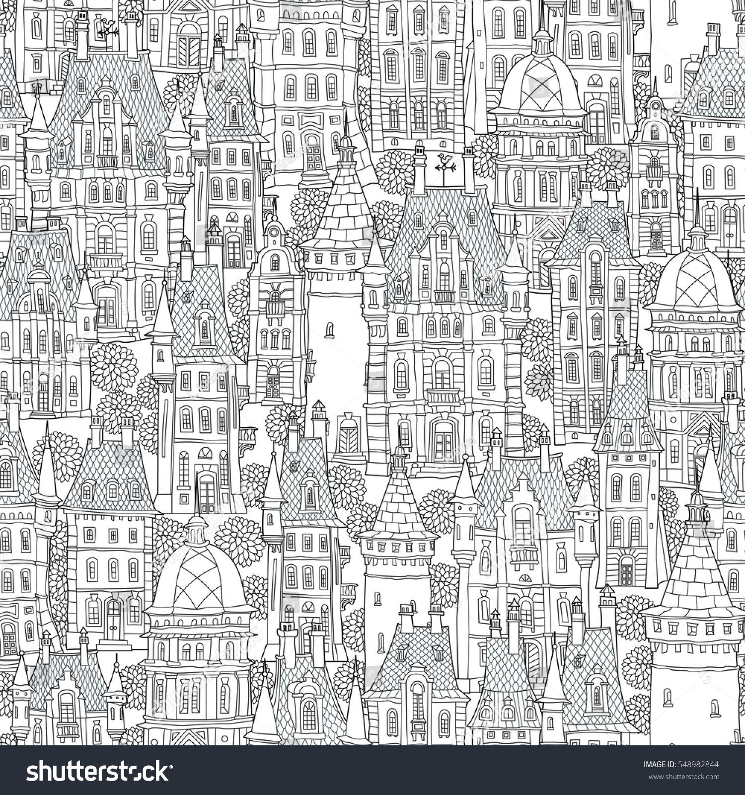 Seamless Pattern Fantasy Urban Landscape Fairy Stock