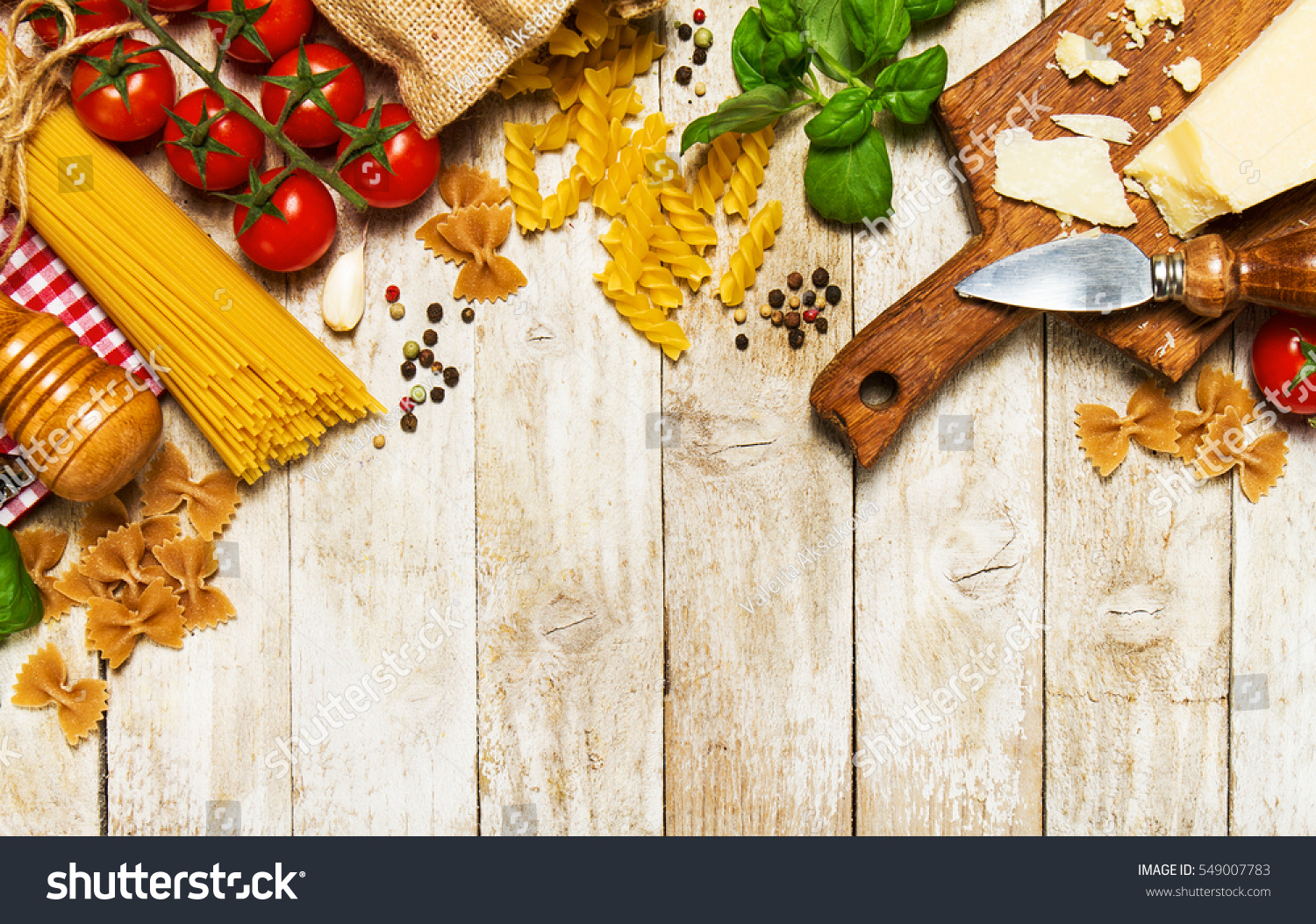 Italian Food Ingredients Background Fresh Vegetables Stock Photo ...