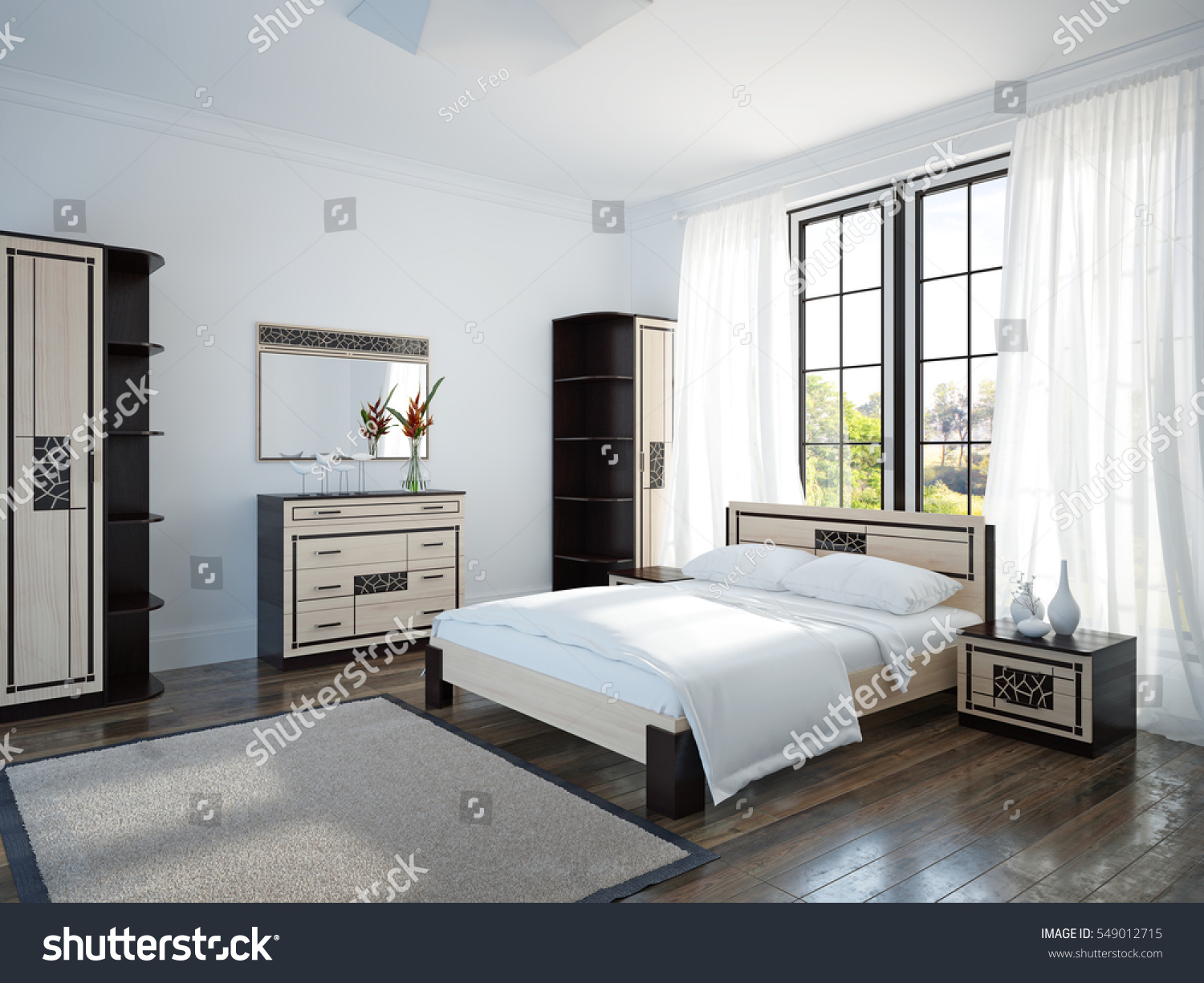 Spacious and bright bedroom with large window and wooden furniture  3d  illustration. Spacious Bright Bedroom Large Window Wooden Stock Illustration