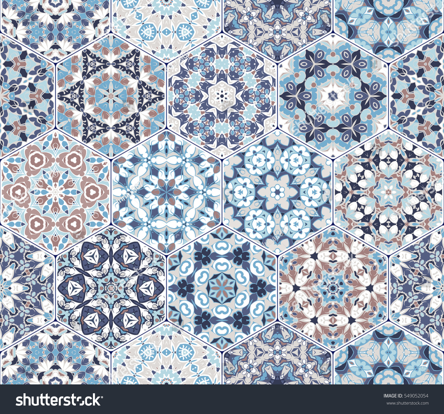 Eastern Seamless Pattern Tiles Colorful Vector Stock Photo (Photo ...