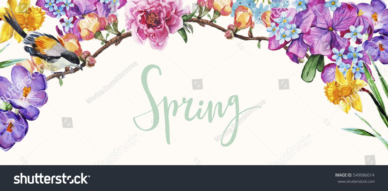 Spring flowers border stock illustration 549086014 shutterstock spring flowers border mightylinksfo