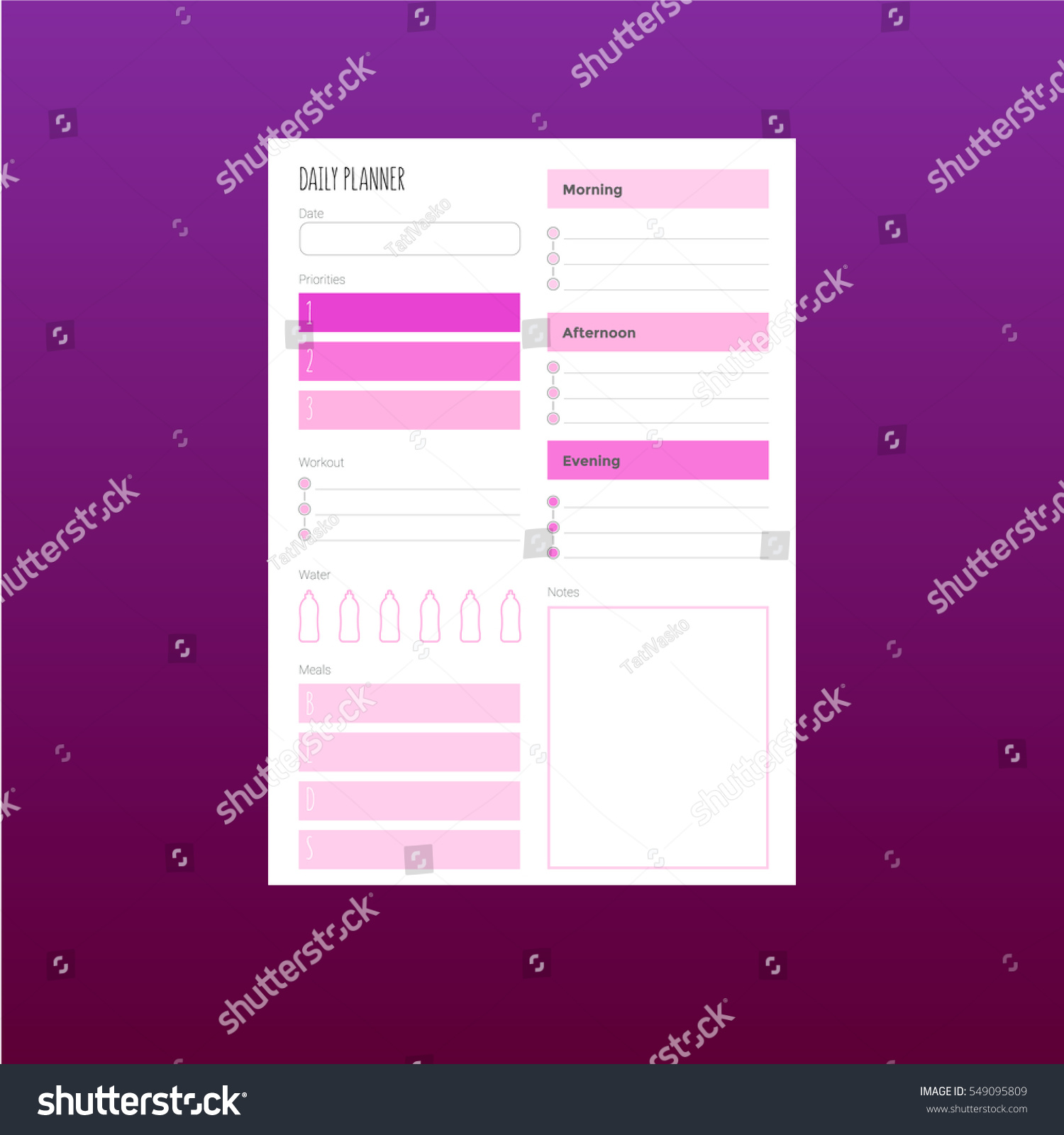 fitness daily planner stock vector royalty free 549095809