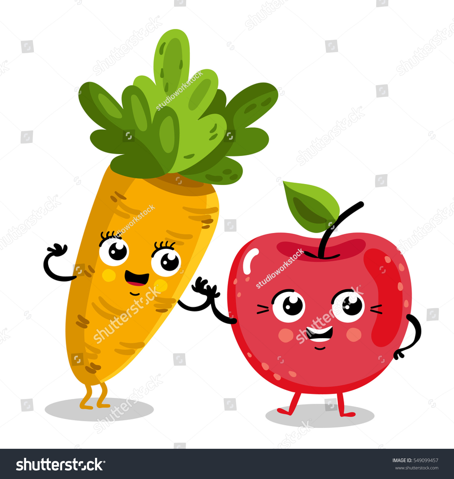 cute fruit vegetable cartoon characters isolated stock vector