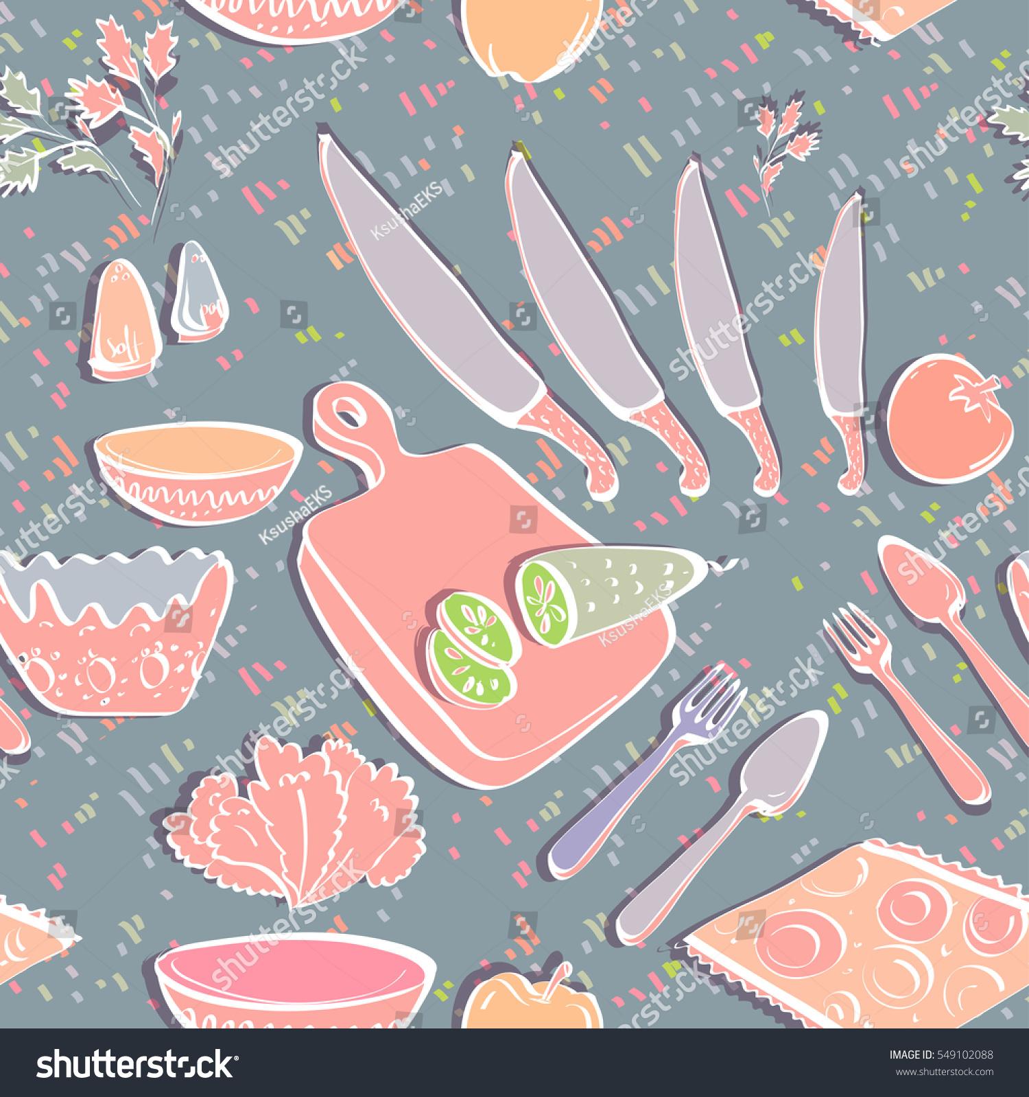Beautiful Table Cooking Kitchen Elements Cartoon Stock Vector ...