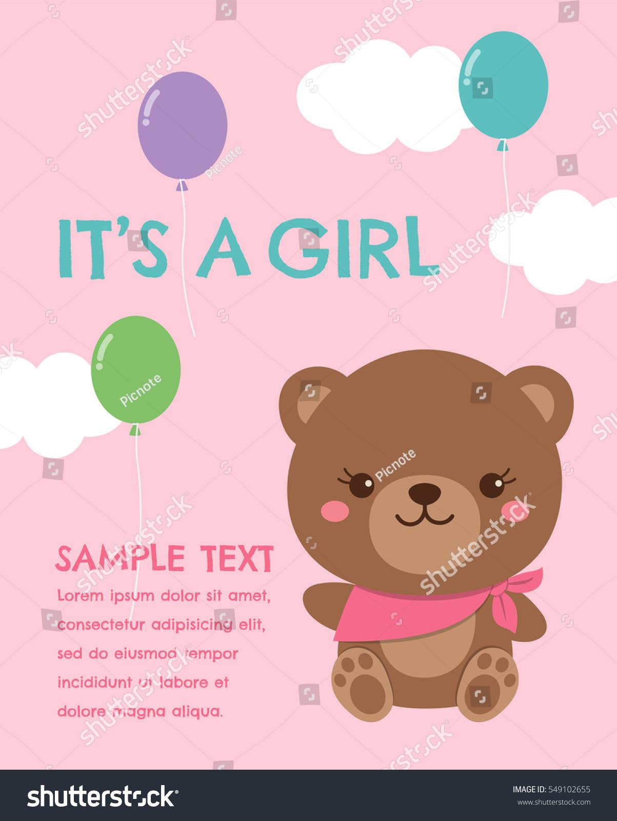 Cute Teddy Bear Vector Illustration Baby Stock Vector