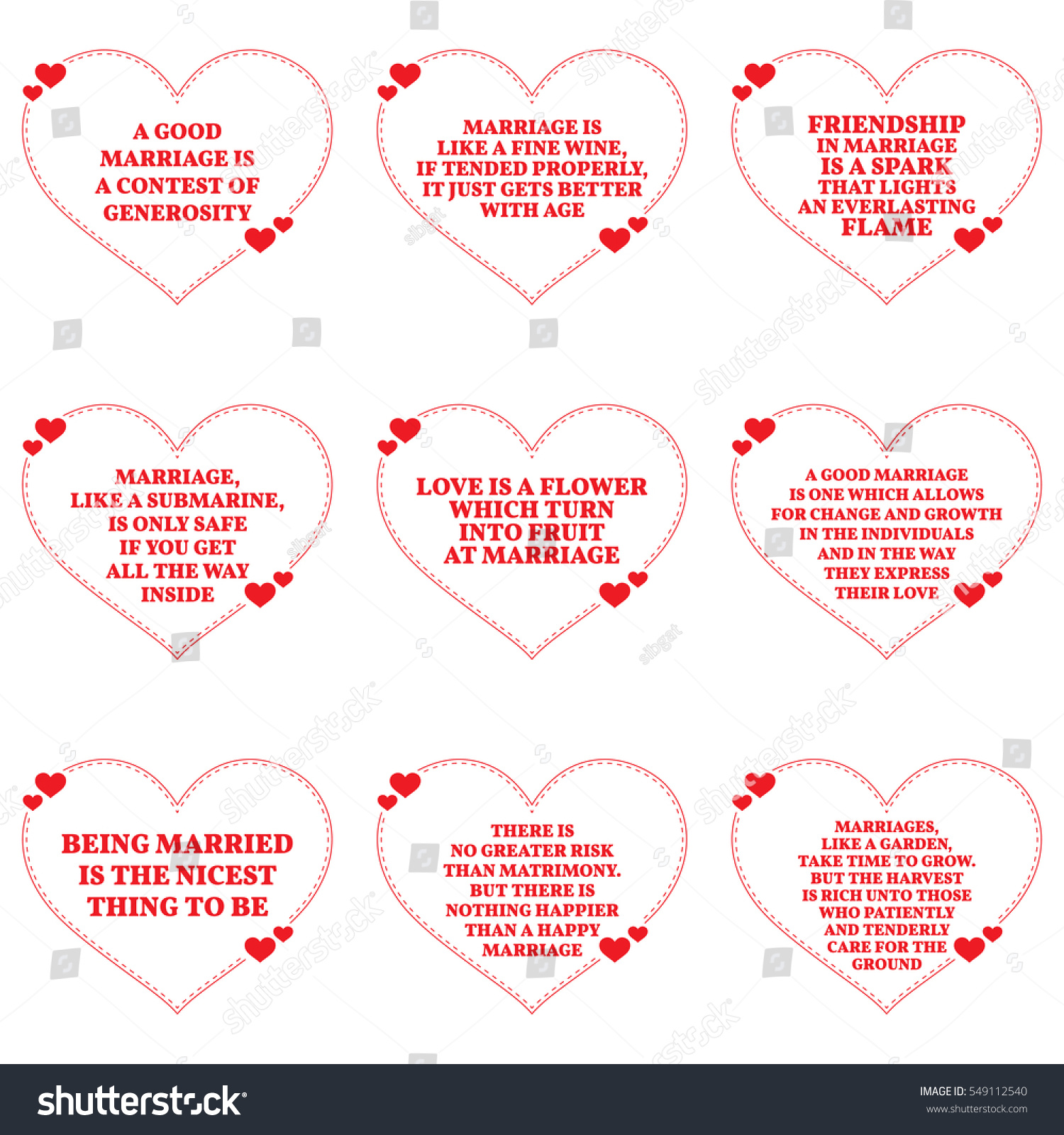 Love Marriage Quotes Set Quotes About Love Marriage Over Stock Vector 549112540
