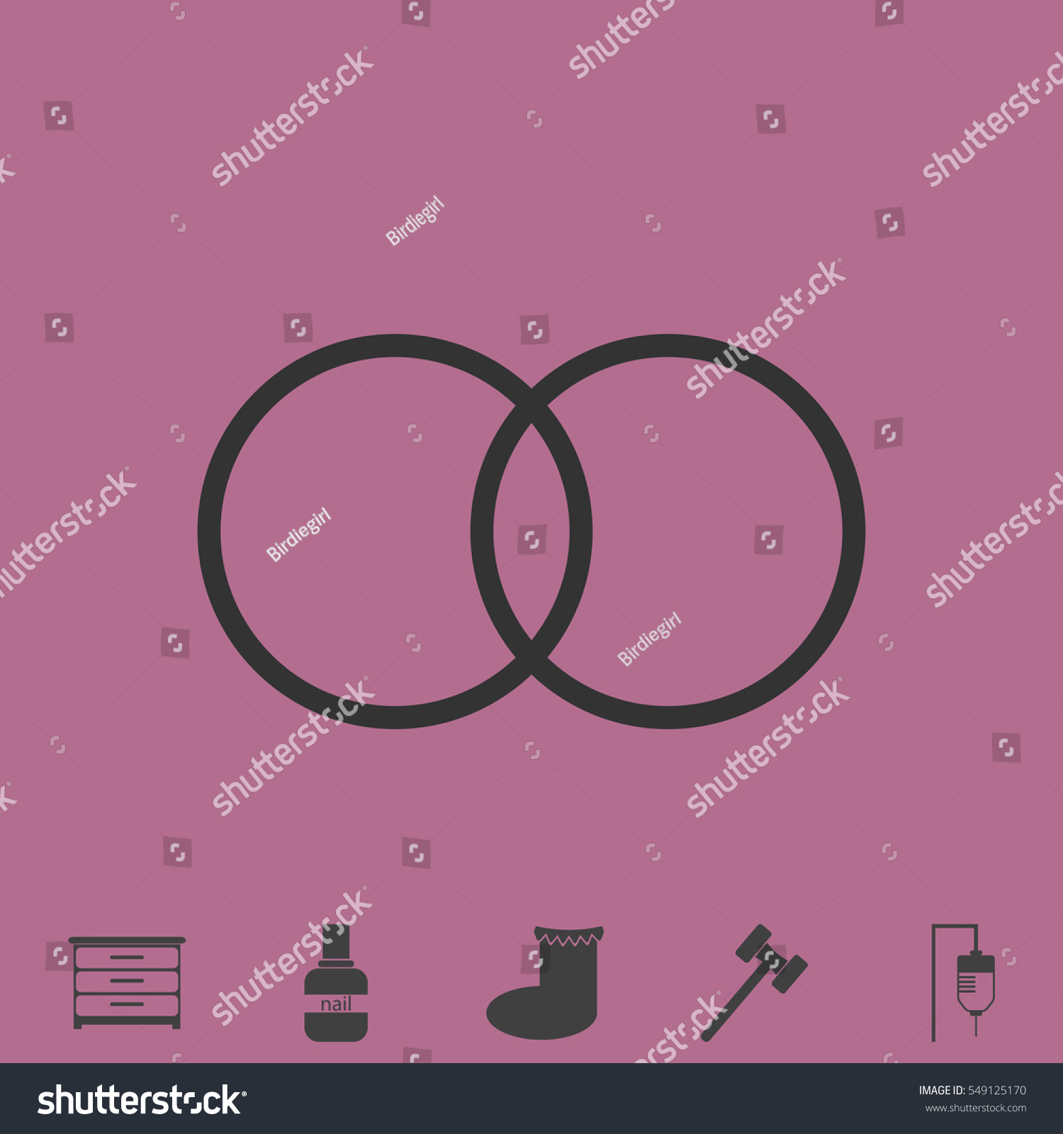 Wedding Rings Icon Flat Simple Vector Stock Vector 549125170 ...