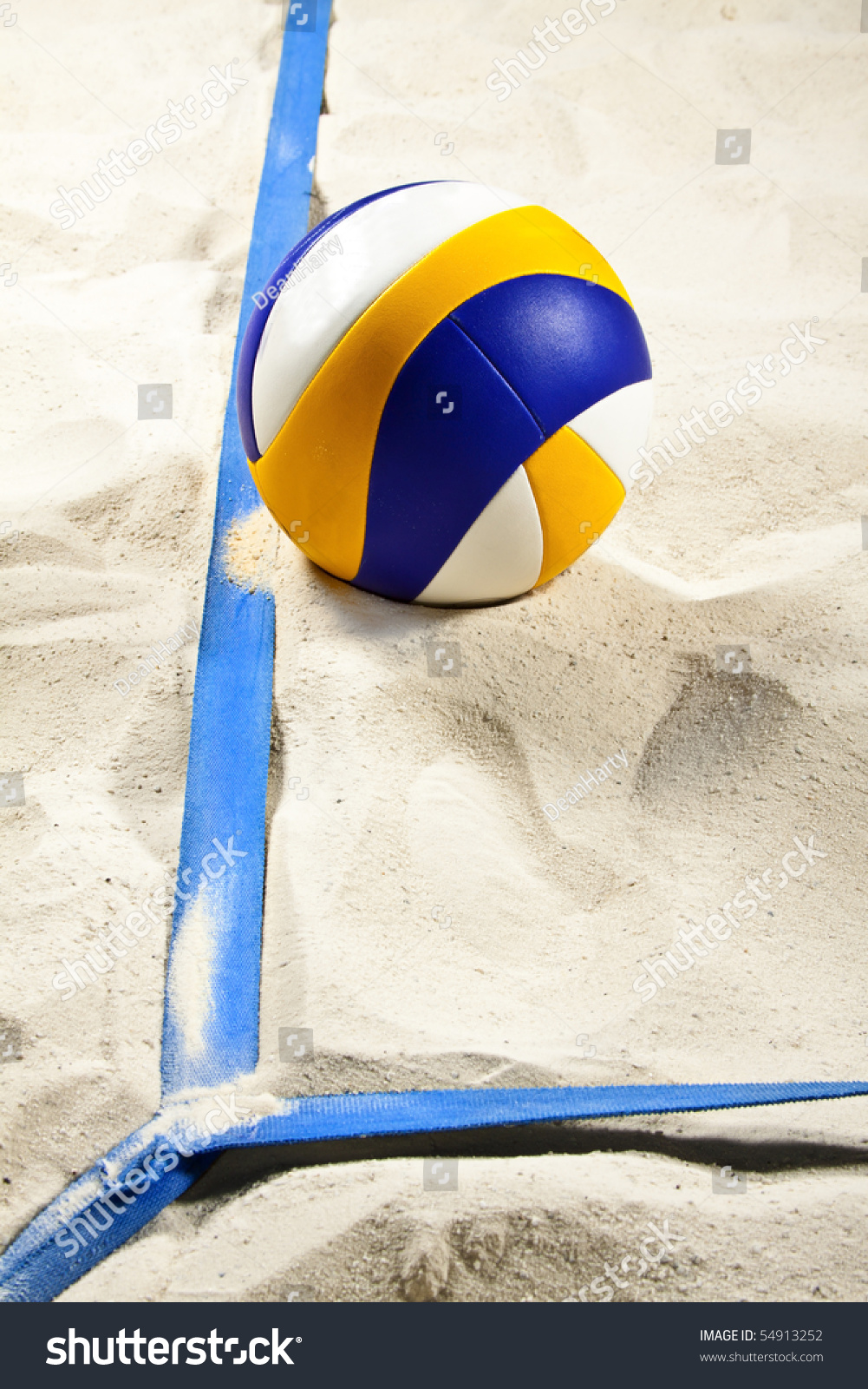 Volleyball On Beach Volleyball Court Lines Stock Photo Edit Now 54913252