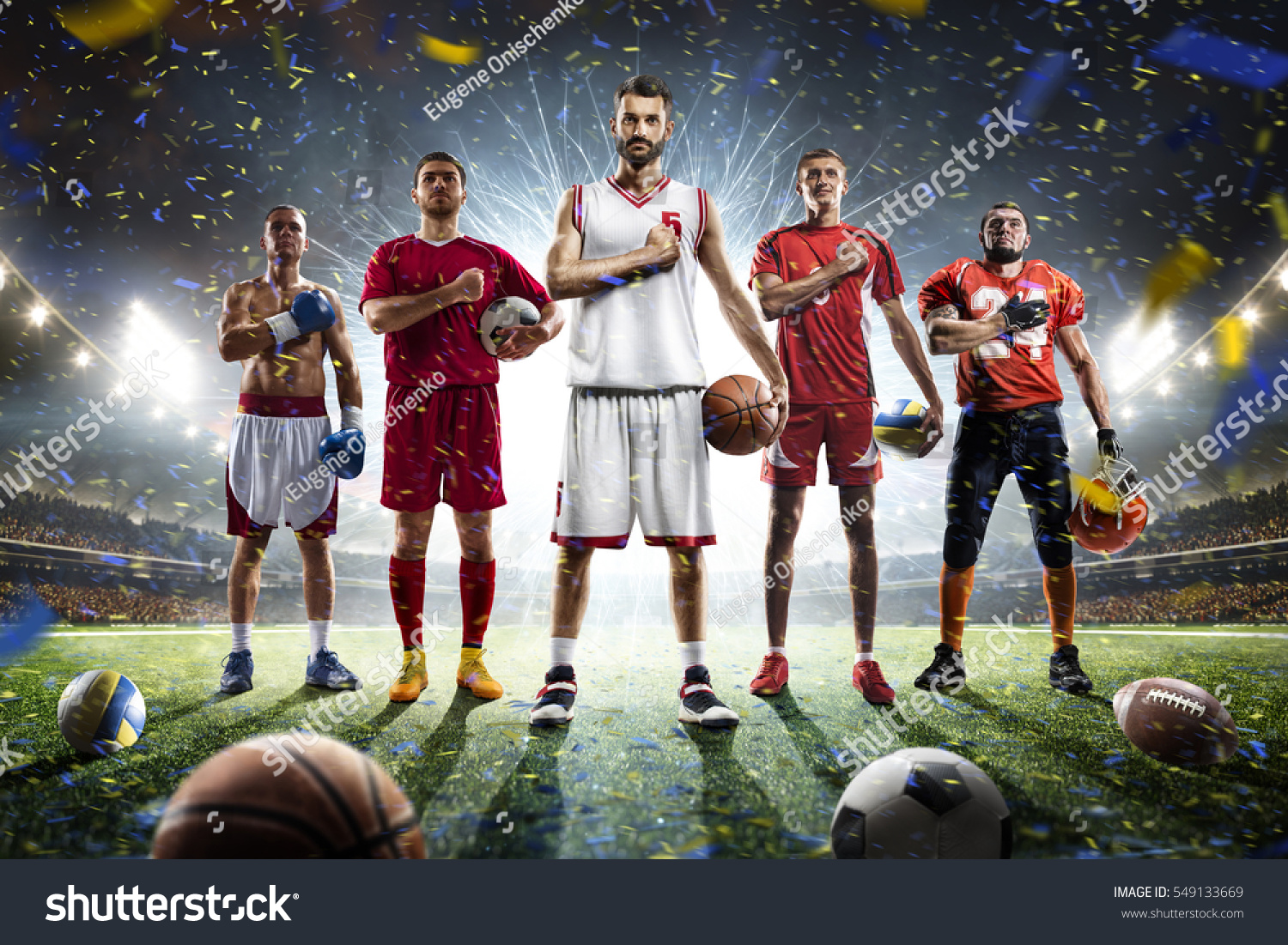 Color Sport Background Football Basketball Hockey Stock: Multi Sports Proud Players Collage On Stock Photo