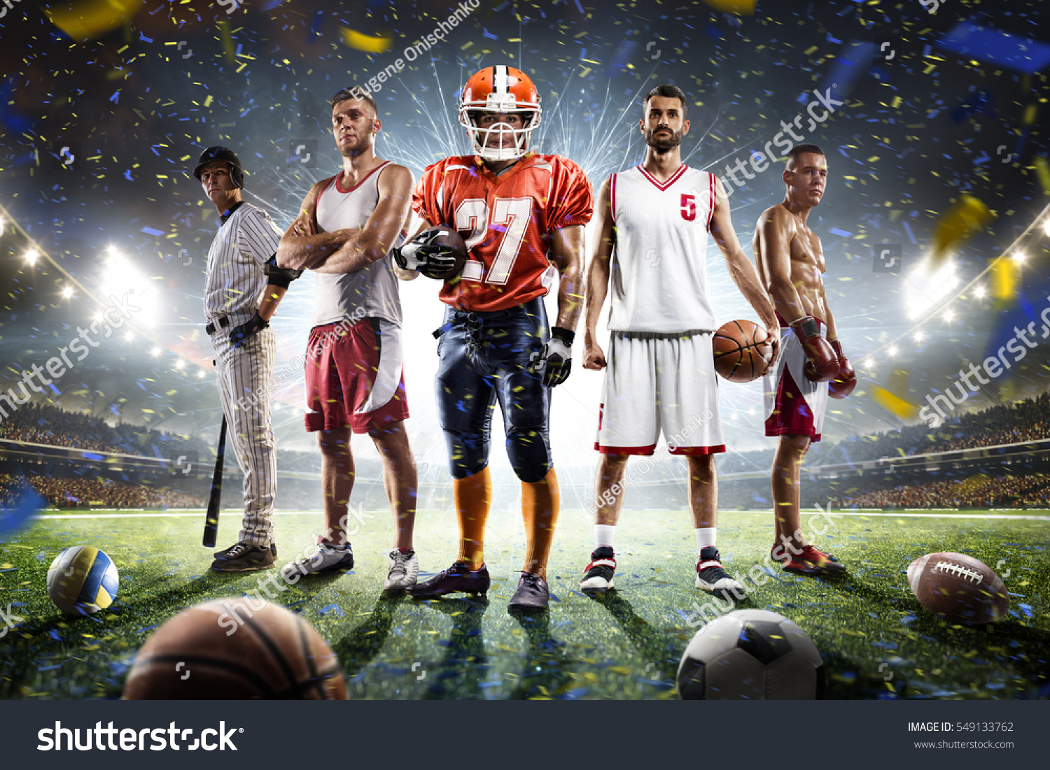 Multi Sports Proud Players Collage On Stock Photo