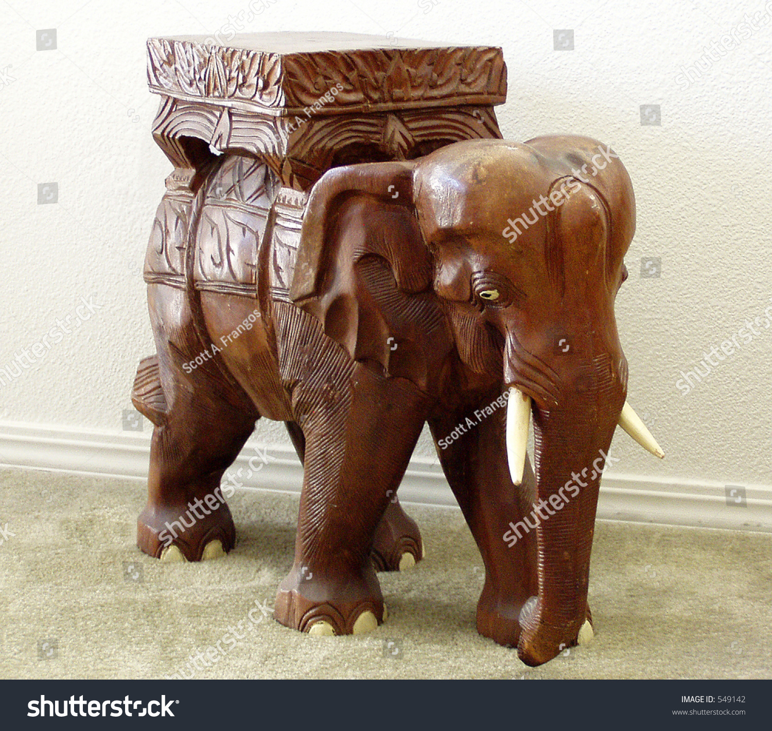 Elephant, Carving, Teak, Stand, Table, Brown, Tusk, India,