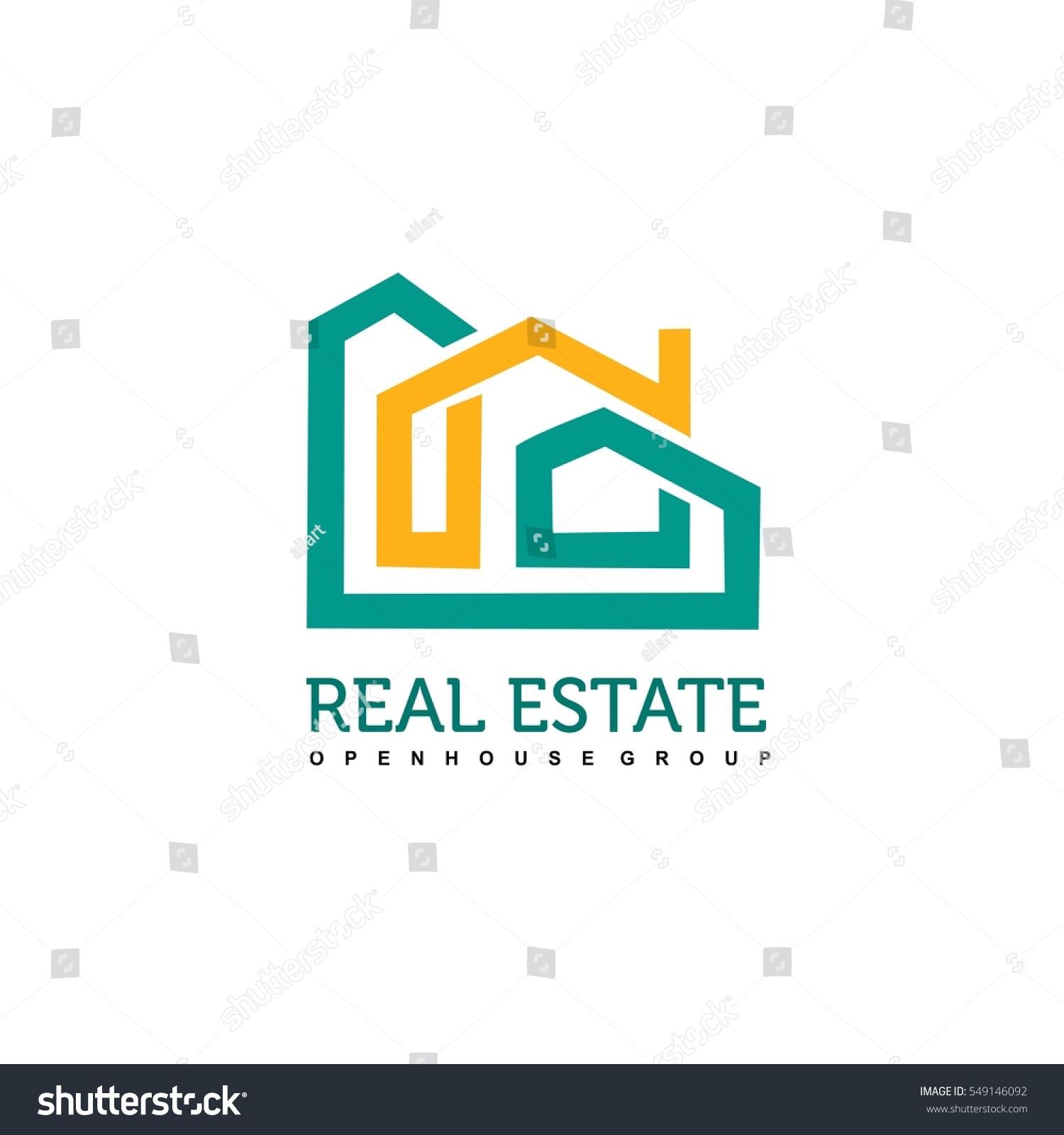 Real Estate Construction : Real estate construction logo design vector stock