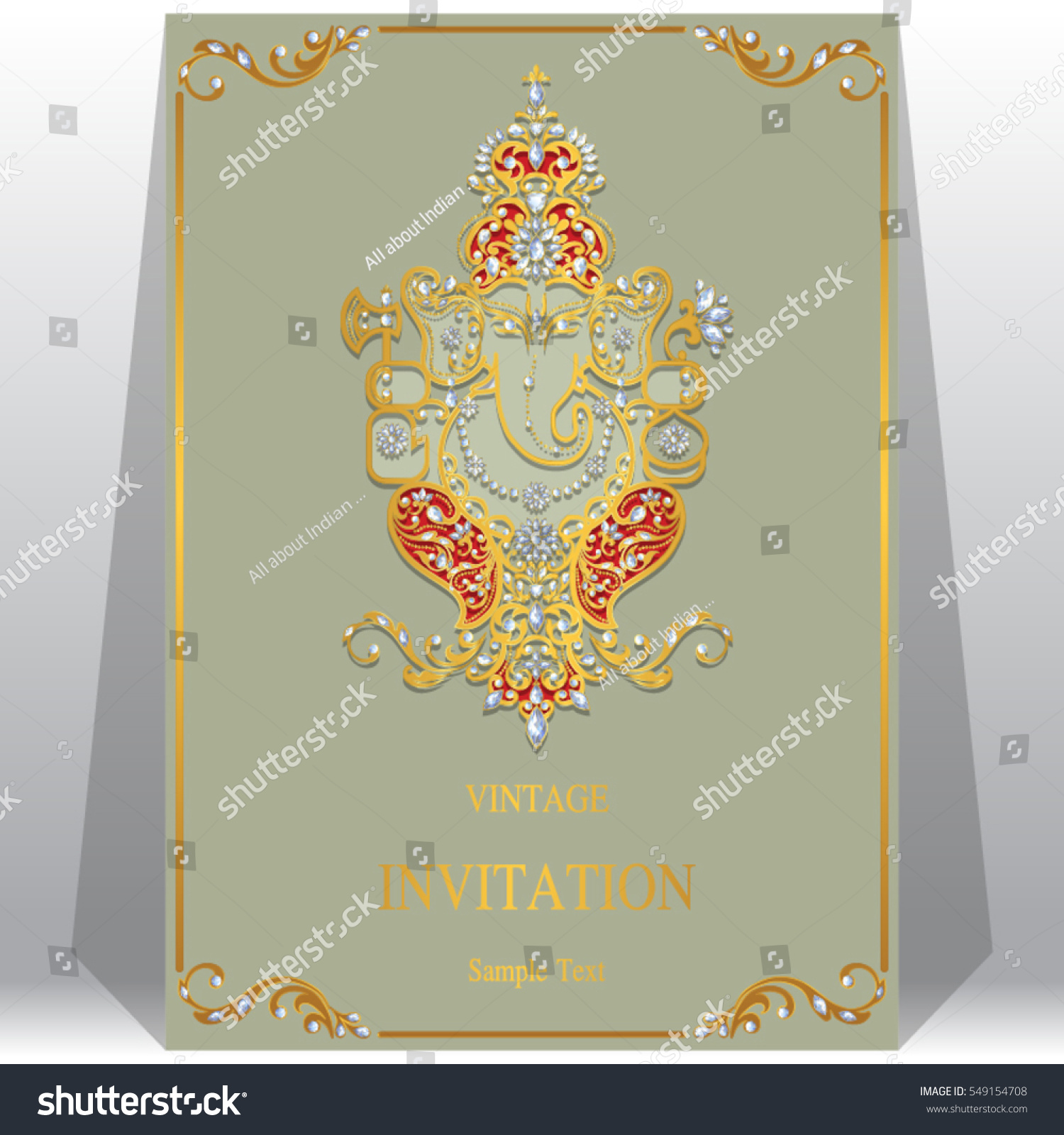 indian wedding invitation card templates gold stock vector 549154708 shutterstock. Black Bedroom Furniture Sets. Home Design Ideas