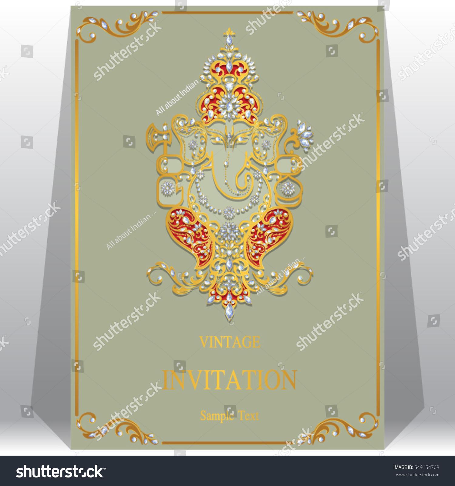indian wedding invitation card templates gold stock vector 549154708 shutterstock. Black Bedroom Furniture Sets. Home Design Ideas