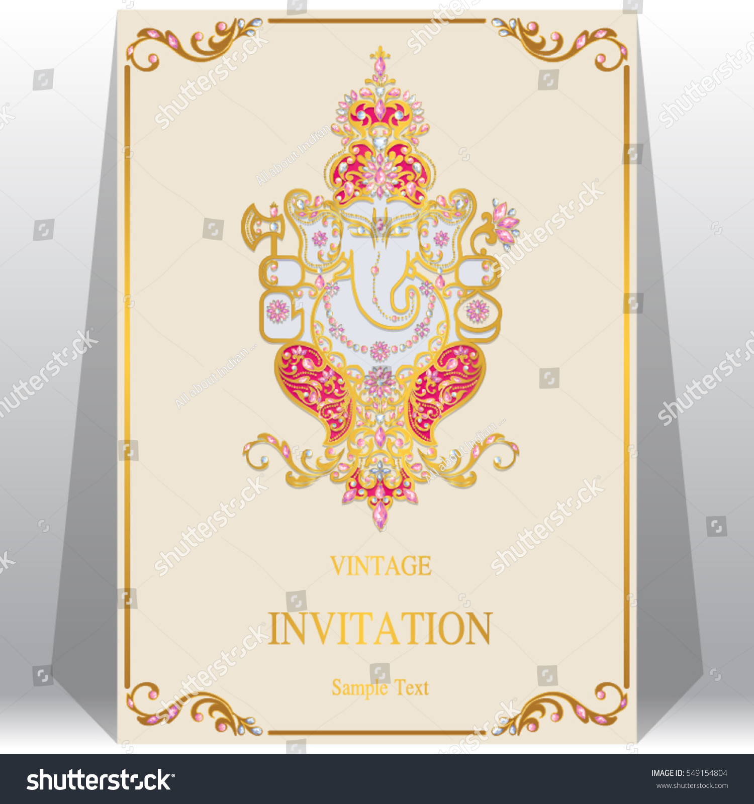 Indian Wedding Invitation Card Templates Gold Stock Vector (Royalty Free)  549154804