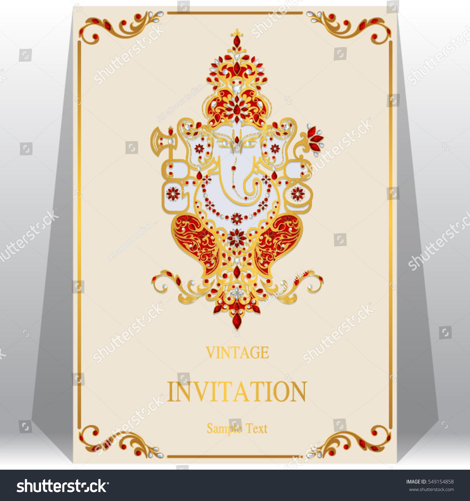 Indian Wedding Invitation Card Templates Gold Stock Vector (2018 ...