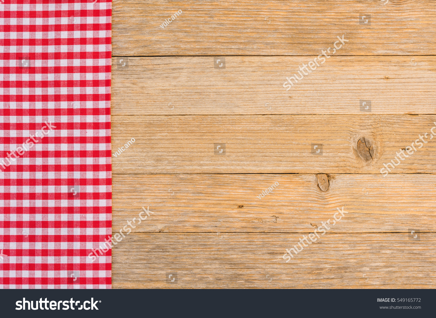 Red Picnic Table Cloth On Brown Stock Photo (Edit Now) 549165772