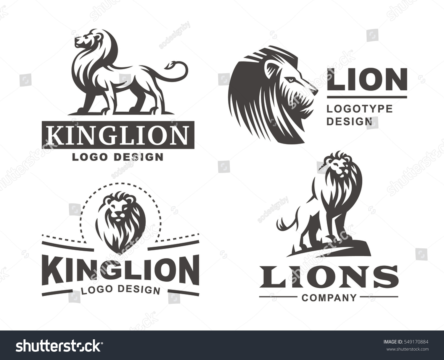 lion logo set vector illustration emblem stock vector 549170884