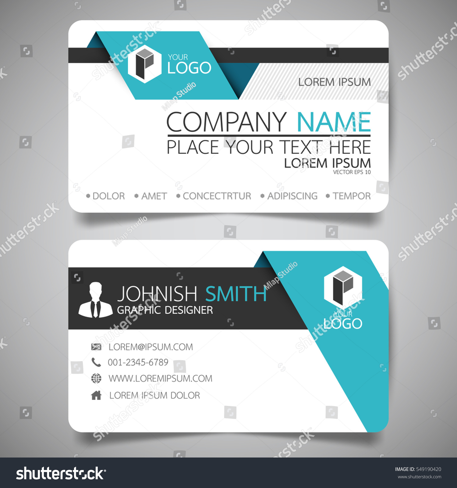 Blue Fold Modern Creative Business Card Stock Vector 549190420 ...