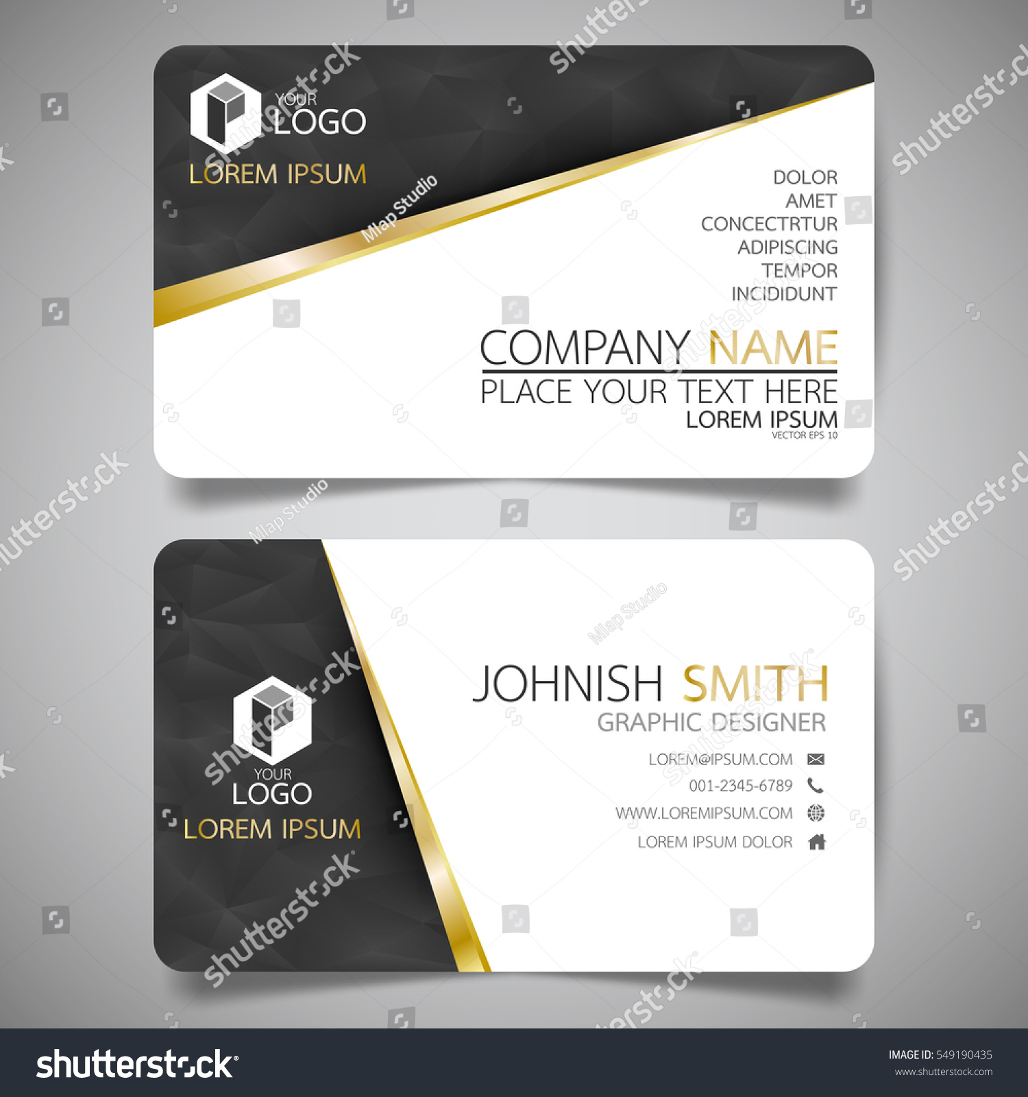 black gold modern creative business card stock vector 549190435