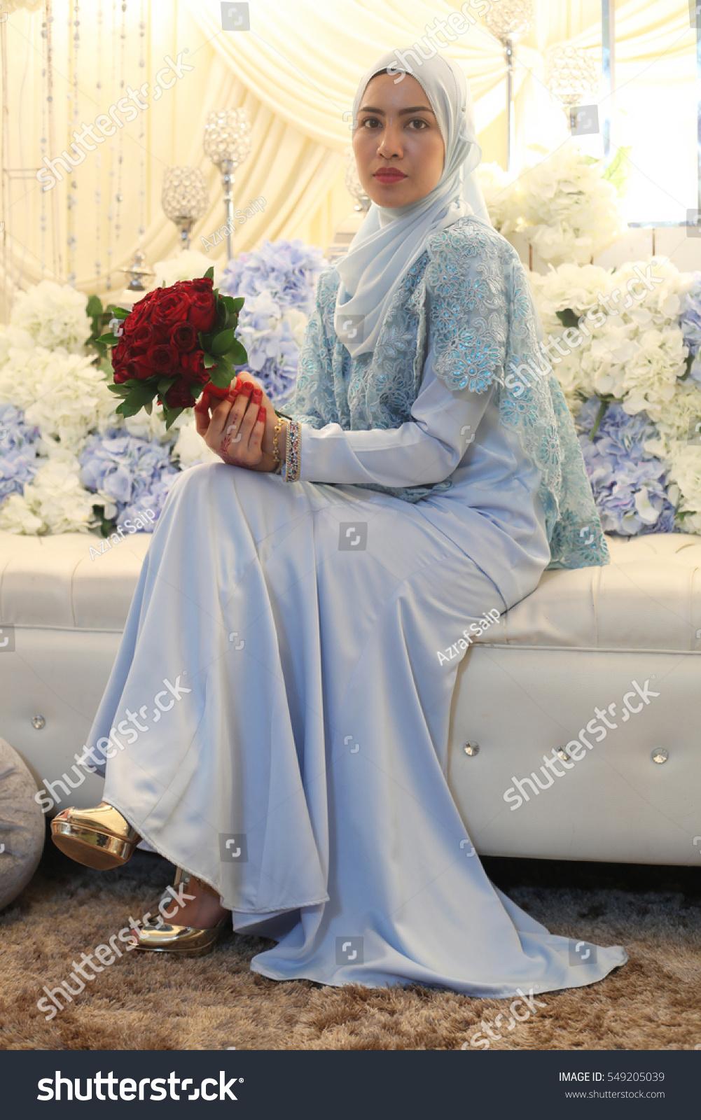 Beautiful Fashionable Malaysian Hijab Bride Rose Stock Photo ...