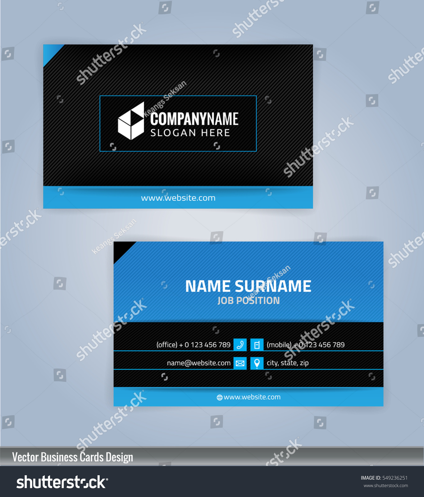 blue black modern business card template stock vector