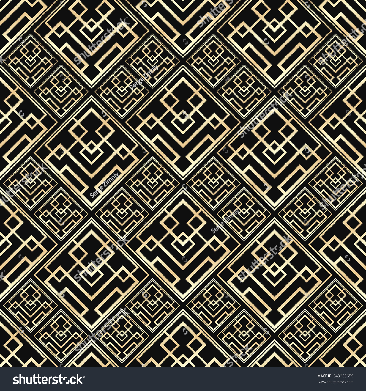Seamless pattern art deco style black stock vector 549255655 seamless pattern in art deco style black and golden tilework 3d effect ceramic tiles dailygadgetfo Image collections