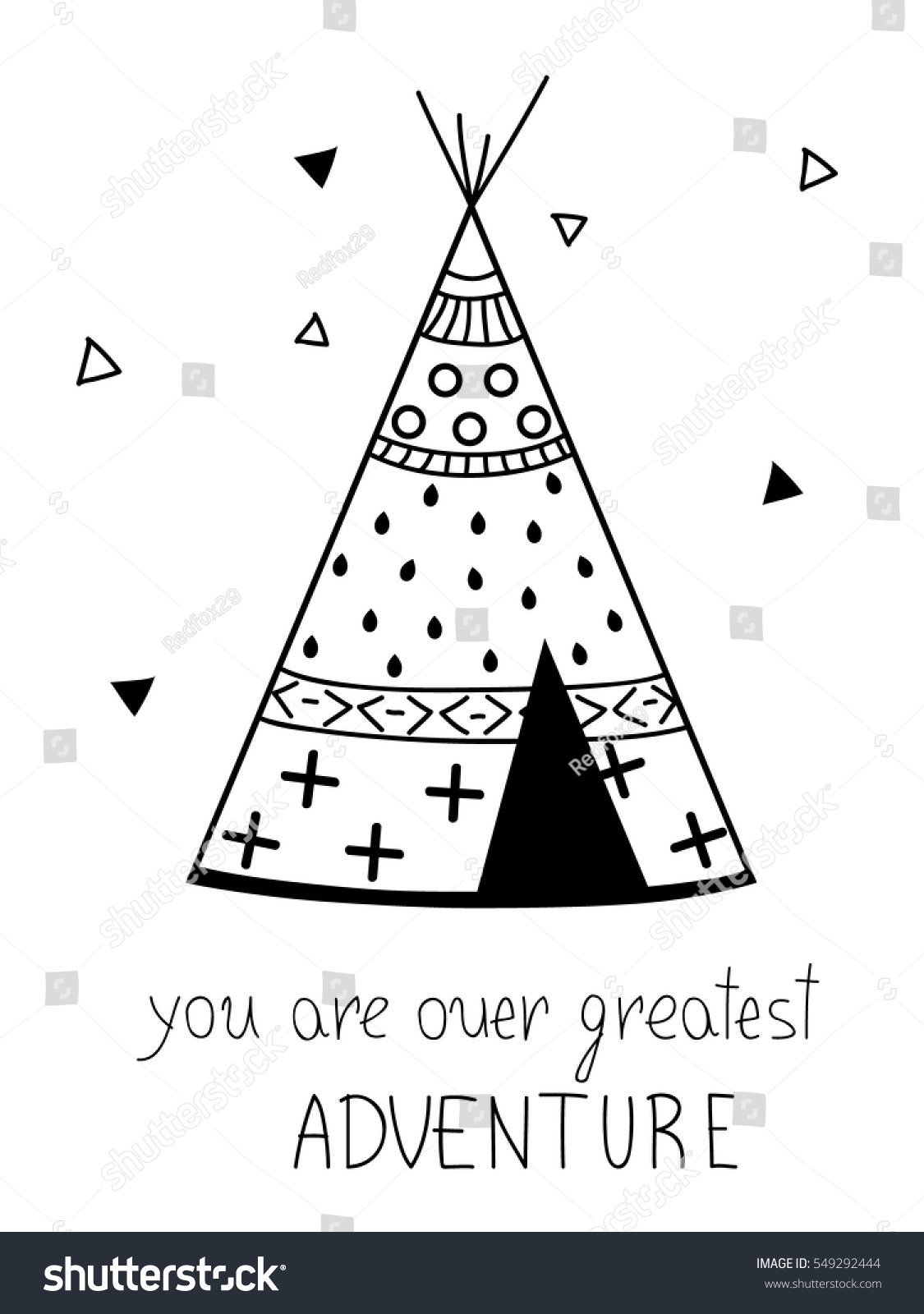 Authentic Tepee Wigwam North American Indian Stock Vector (Royalty ...