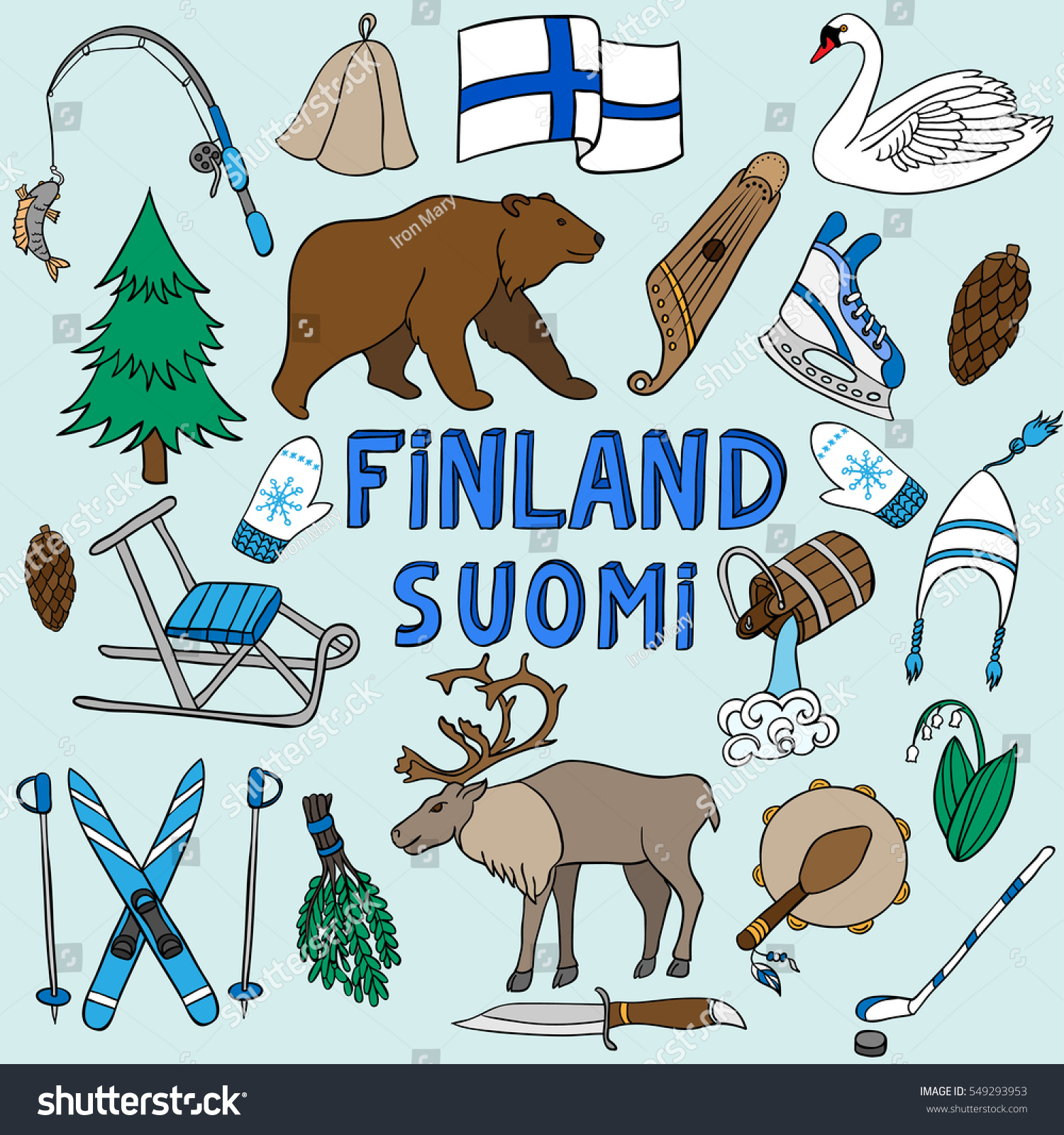 Vector set national symbols finland bear stock vector 549293953 vector set of national symbols of finland bear deer skiing flag biocorpaavc