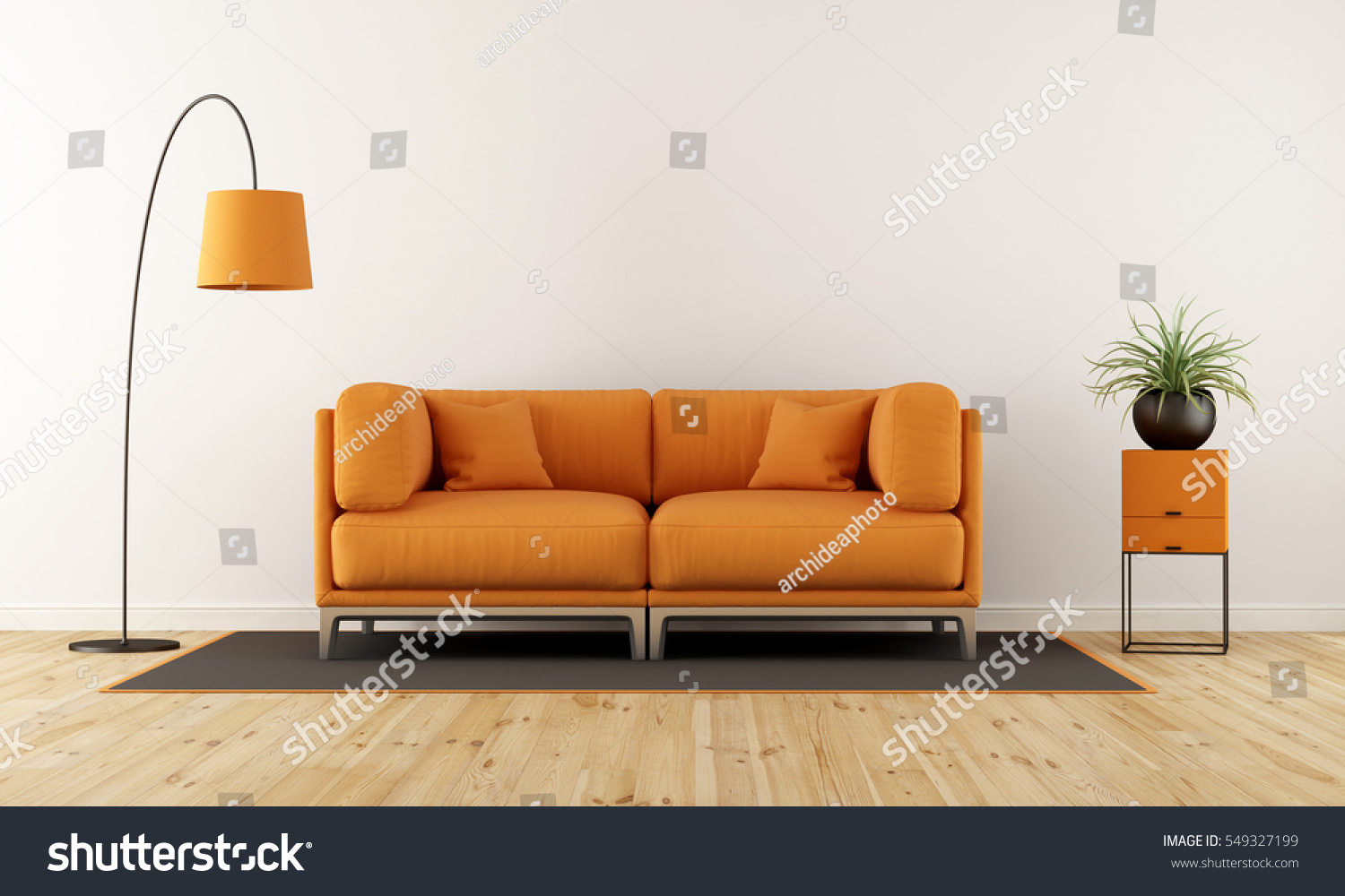 Modern Living Room With White Wall, Orange Couch And Floor Lamp   3d  Rendering Part 67