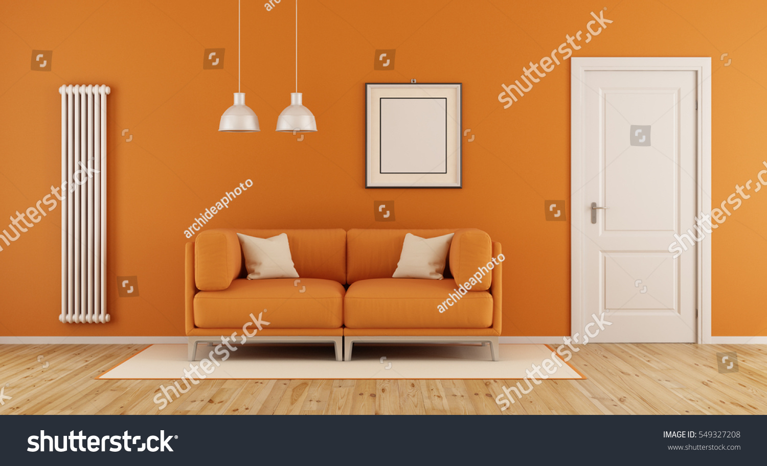 orange living room modern couchclosed door stock illustration