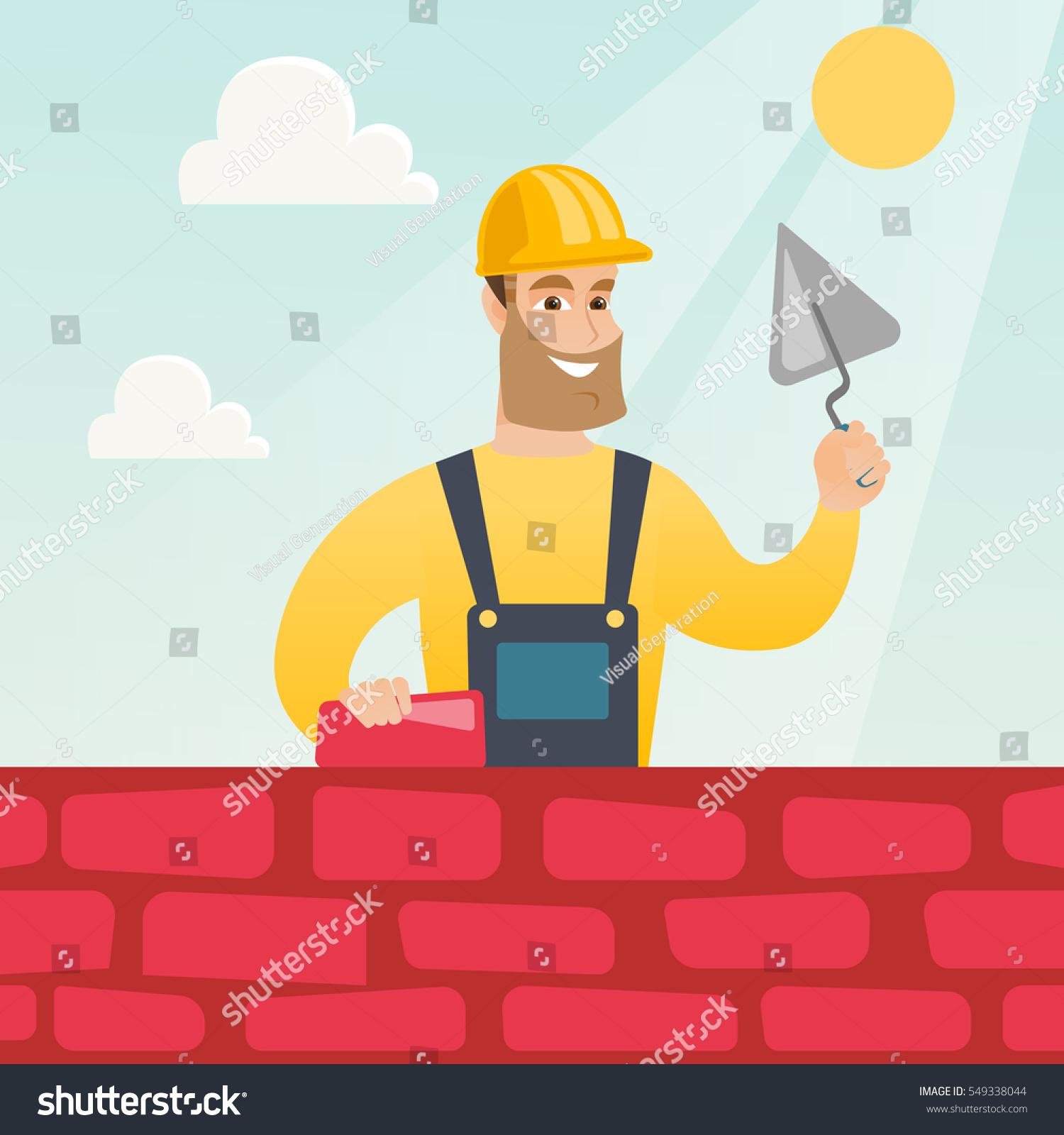 Young Bricklayer Uniform Hard Hat Caucasian Stock Vector 549338044 ...