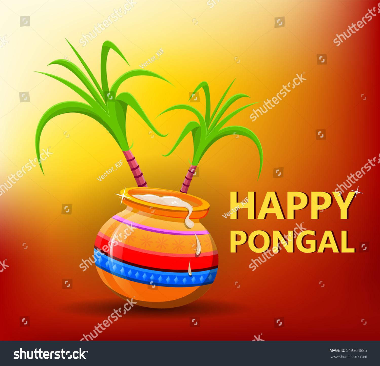Happy Pongal Greeting Card On Beautiful Stock Vector Royalty Free