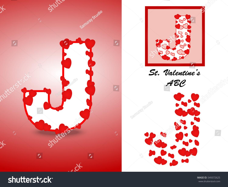Alphabet Letter J Red Heart Valentine Stock Vector (Royalty Free ...