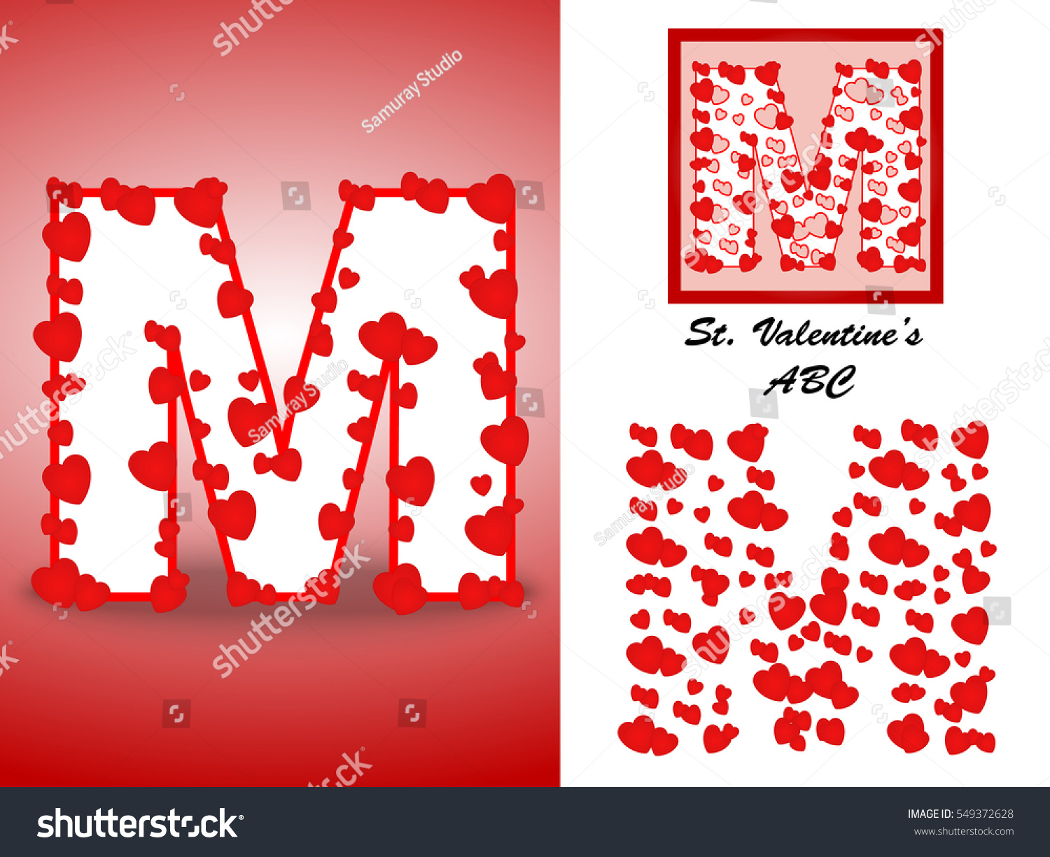 Alphabet Letter M Red Heart Valentine Stock Vector (Royalty Free ...