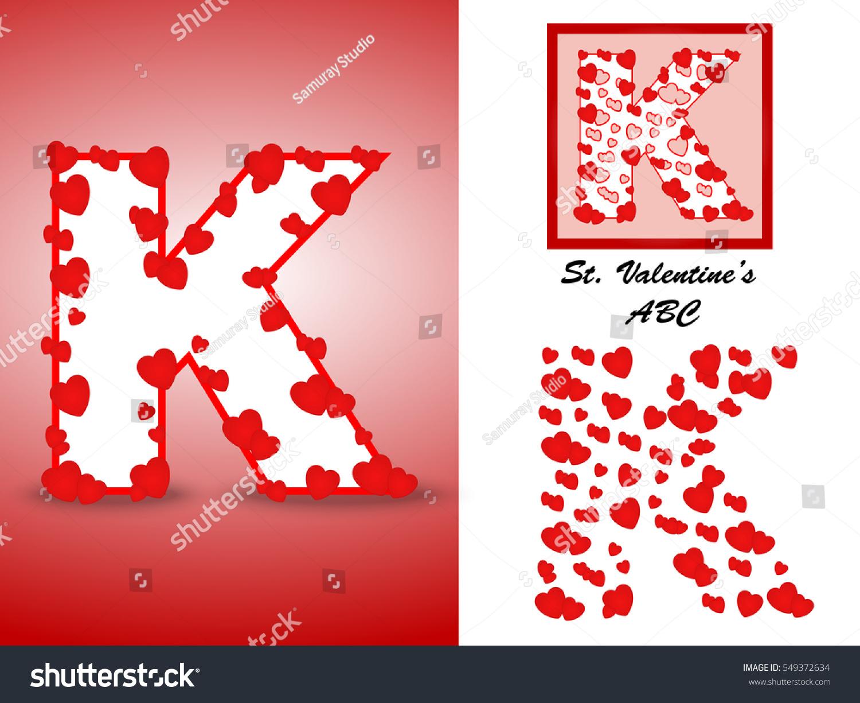 Alphabet Letter K Red Heart Valentine Stock Vector (Royalty Free ...