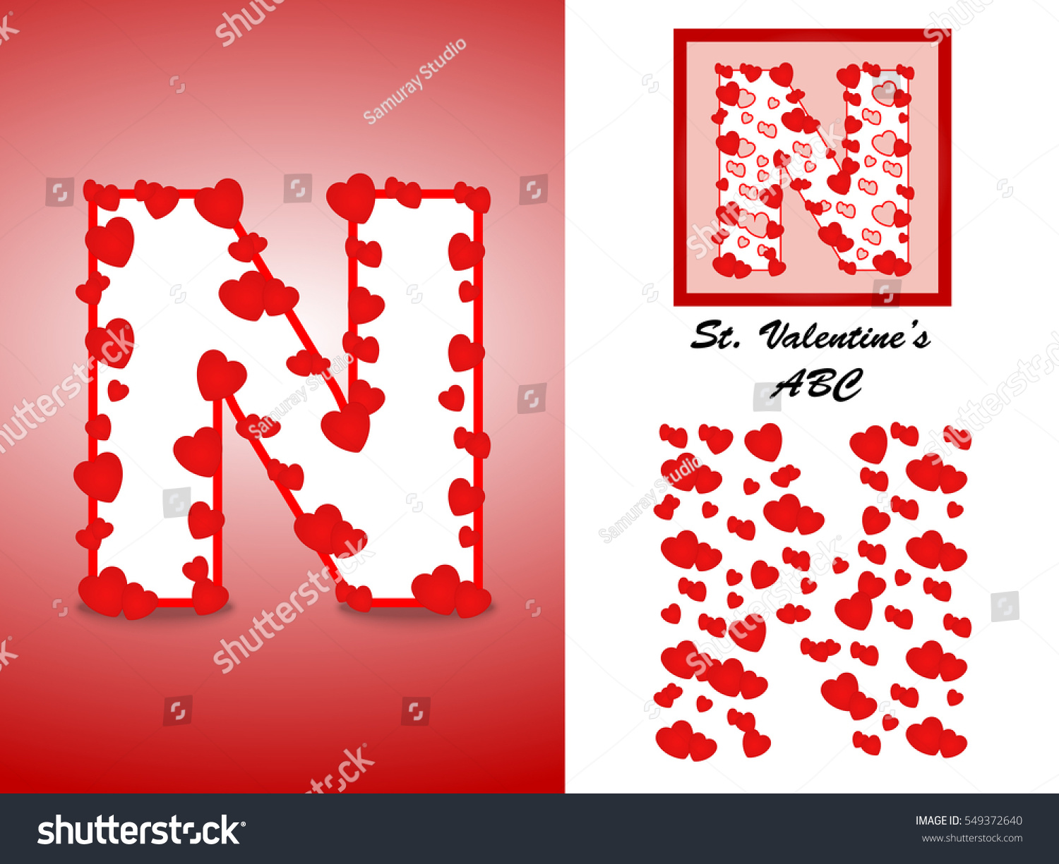Alphabet Letter N Red Heart Valentine Stock Vector (Royalty Free ...