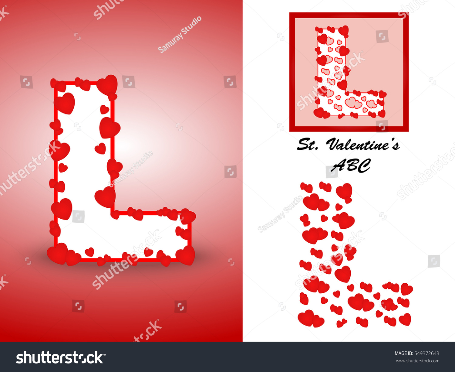 Alphabet Letter L Red Heart Valentine Stock Vector (Royalty Free ...
